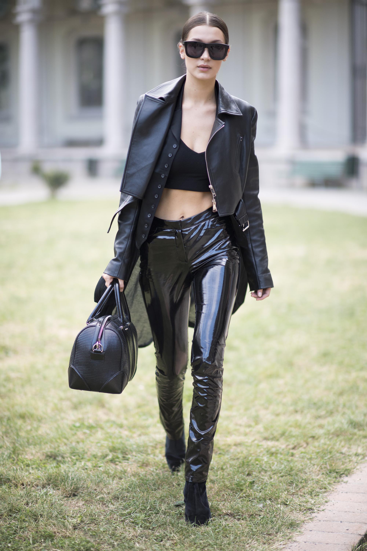 Bella Hadid leaving the Alberta Ferretti Show