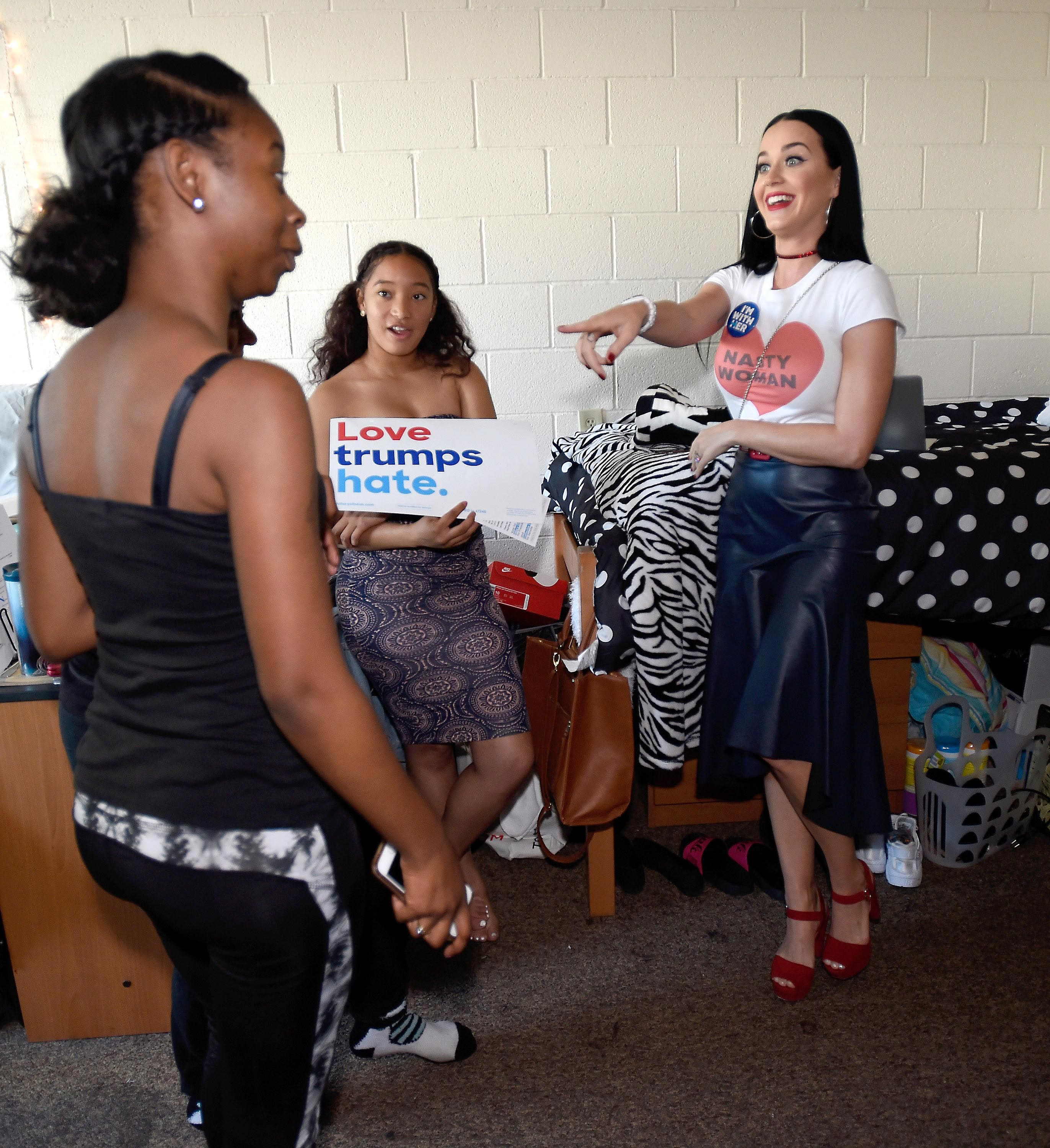 Katy Perry canvasses for Democratic presidential candidate Hillary Clinton