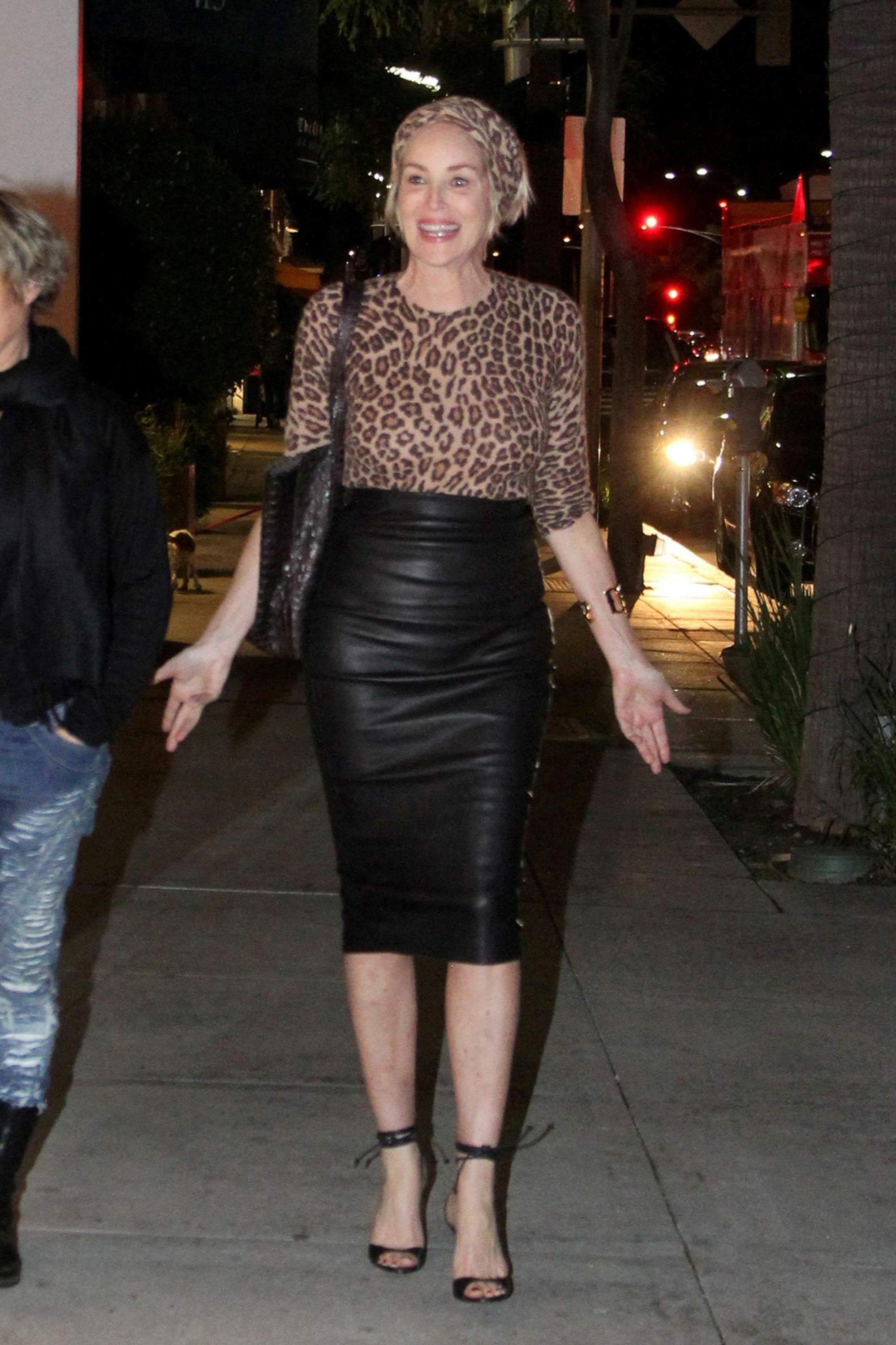 Sharon Stone dinner with a friend