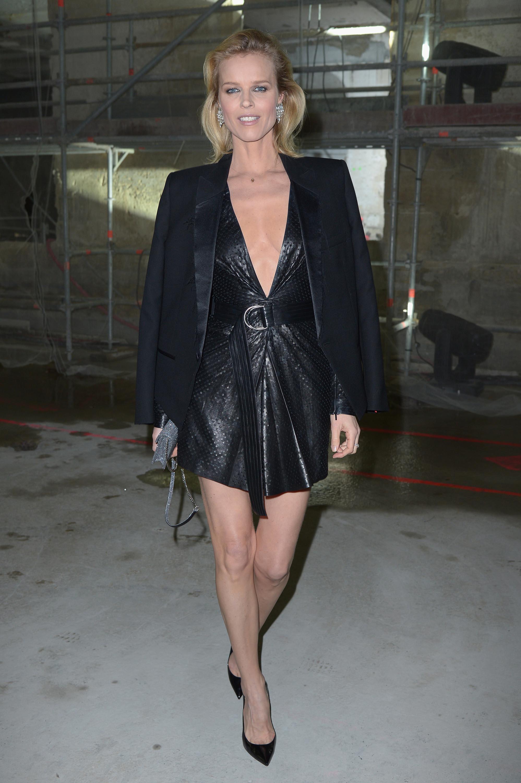 Eva Herzigova attends the Saint Laurent show