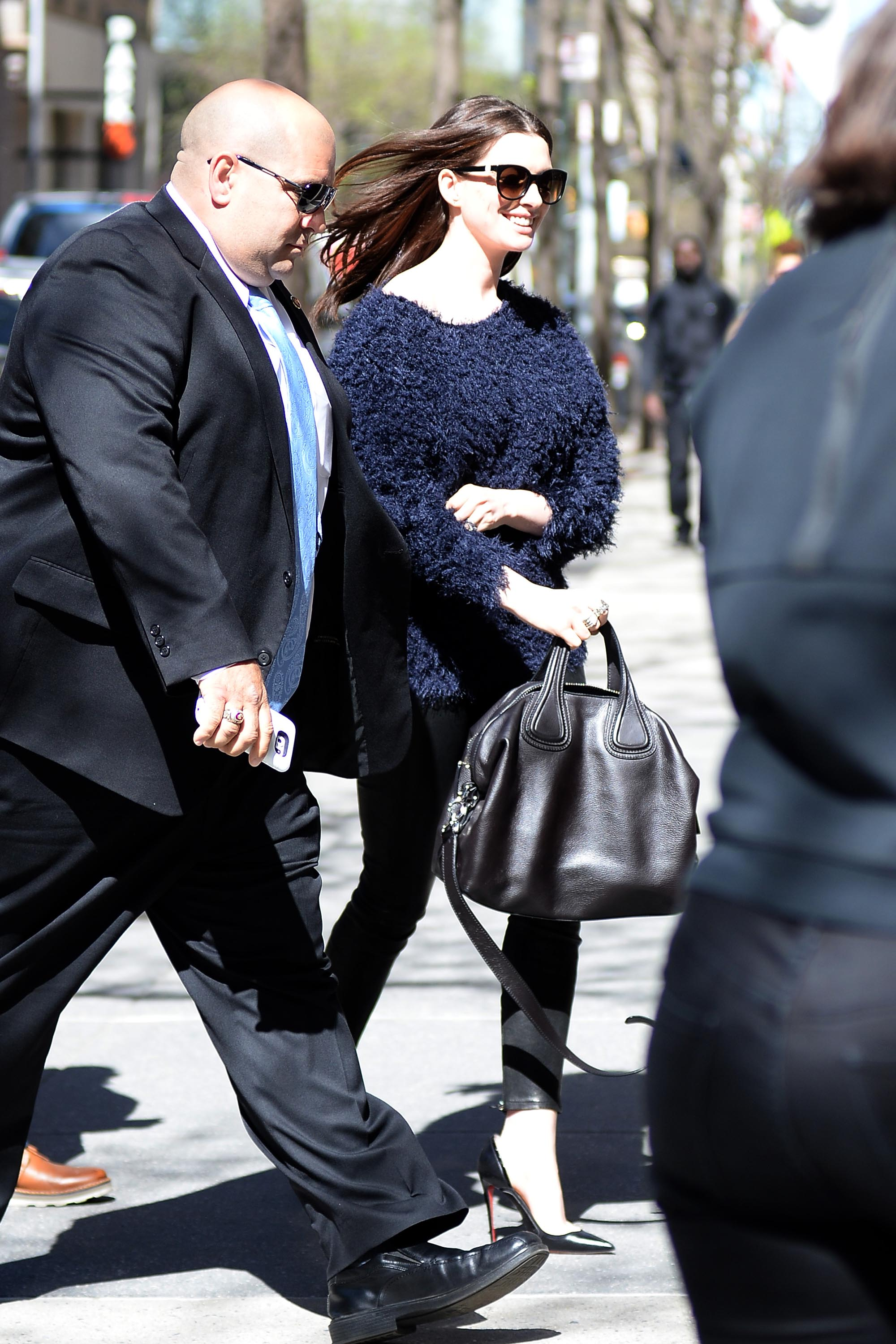 Anne Hathaway leaving a meeting in NYC