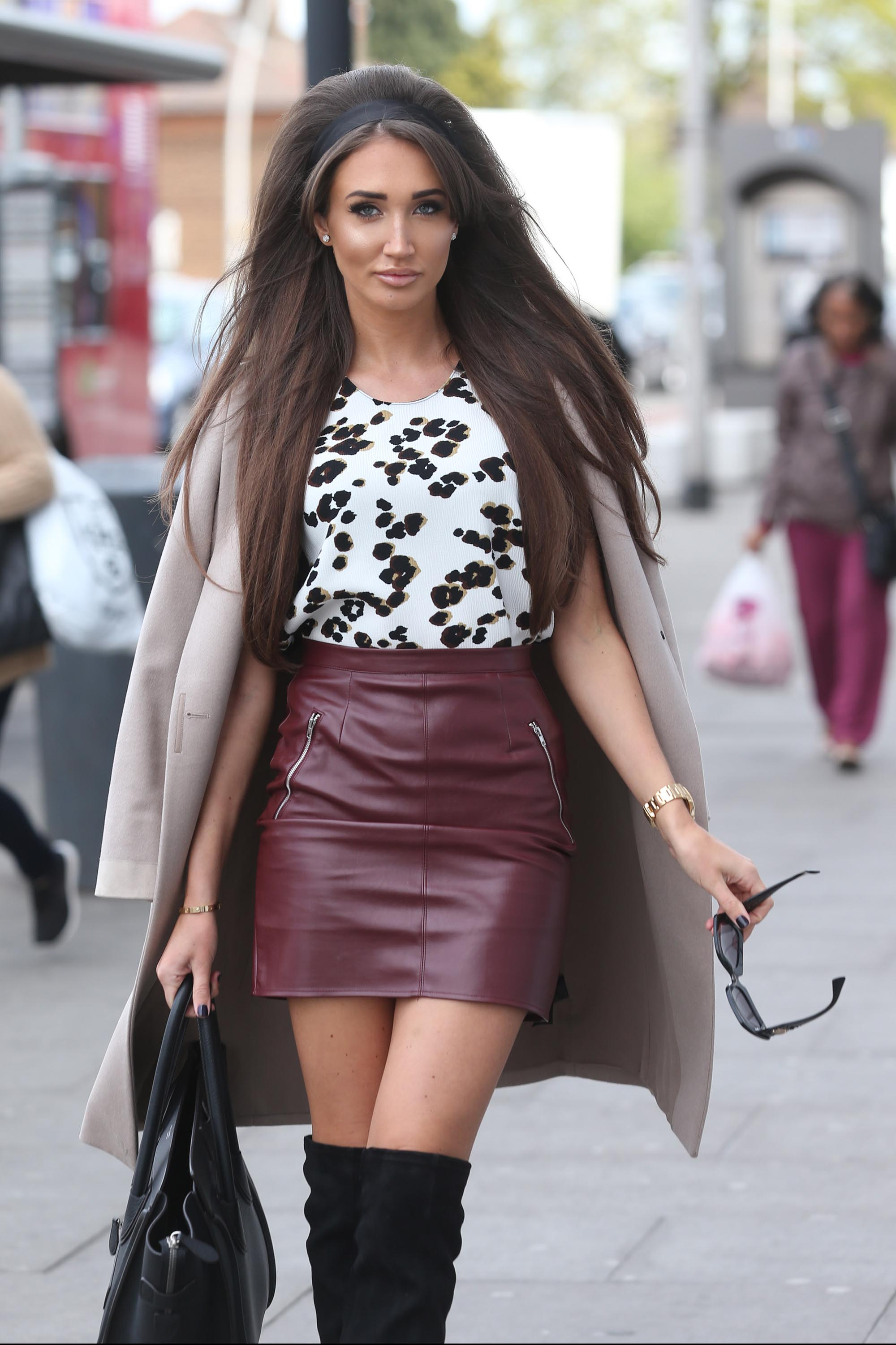 Megan McKenna filming scenes for TOWIE