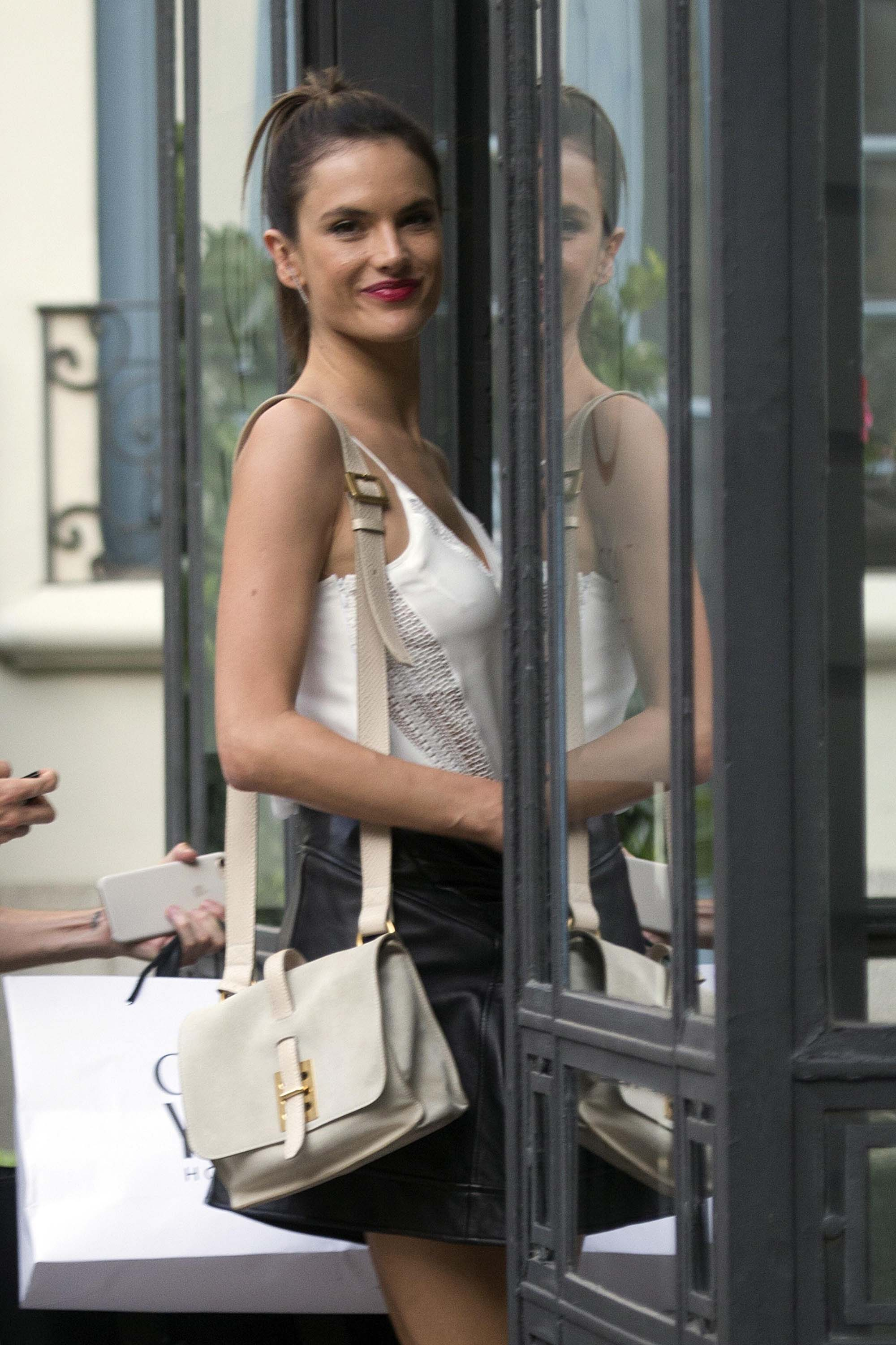 Alessandra Ambrosio arriving at her hotel