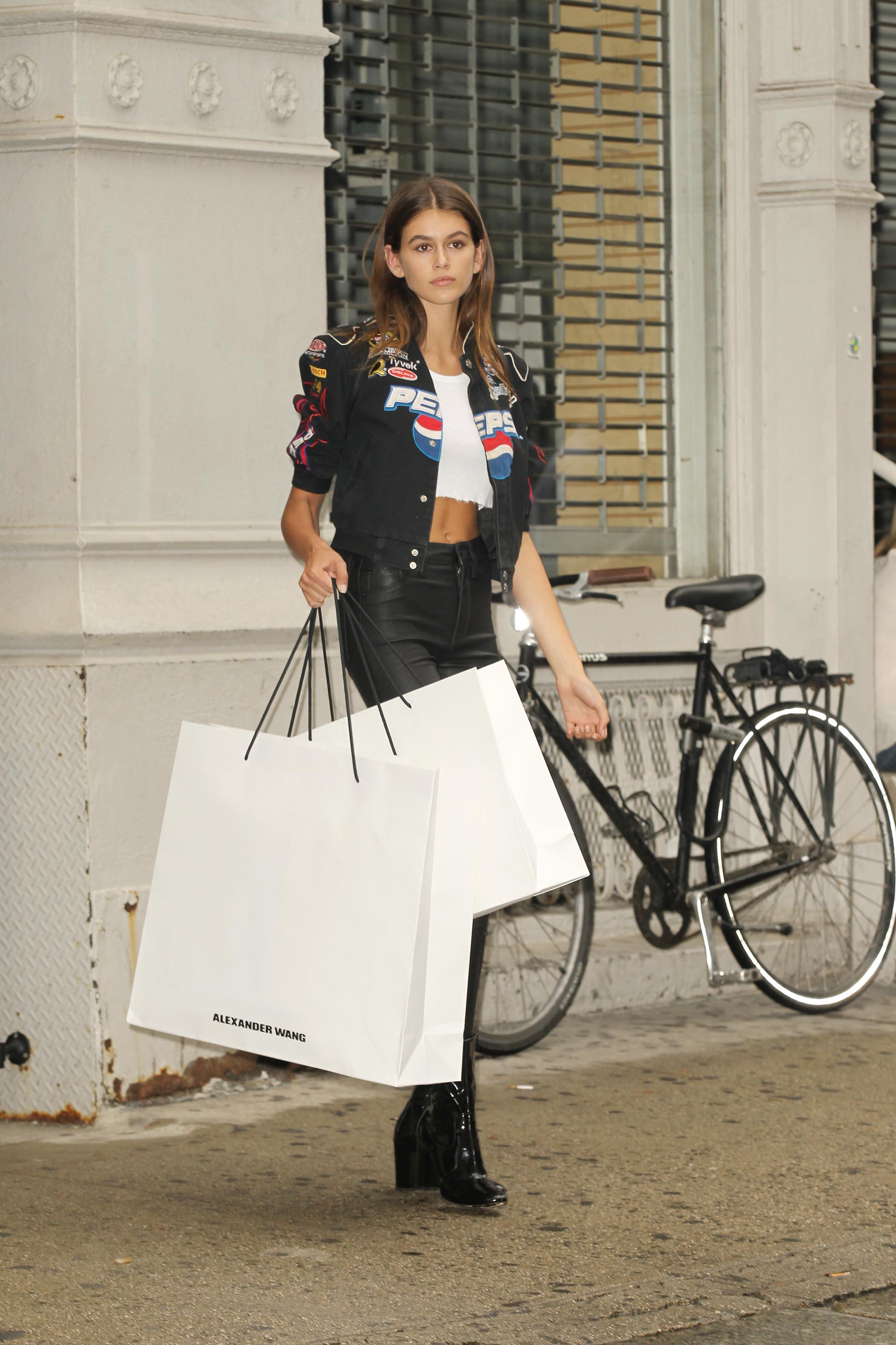Kaia Gerber seen at the Alexander Wang fitting rooms