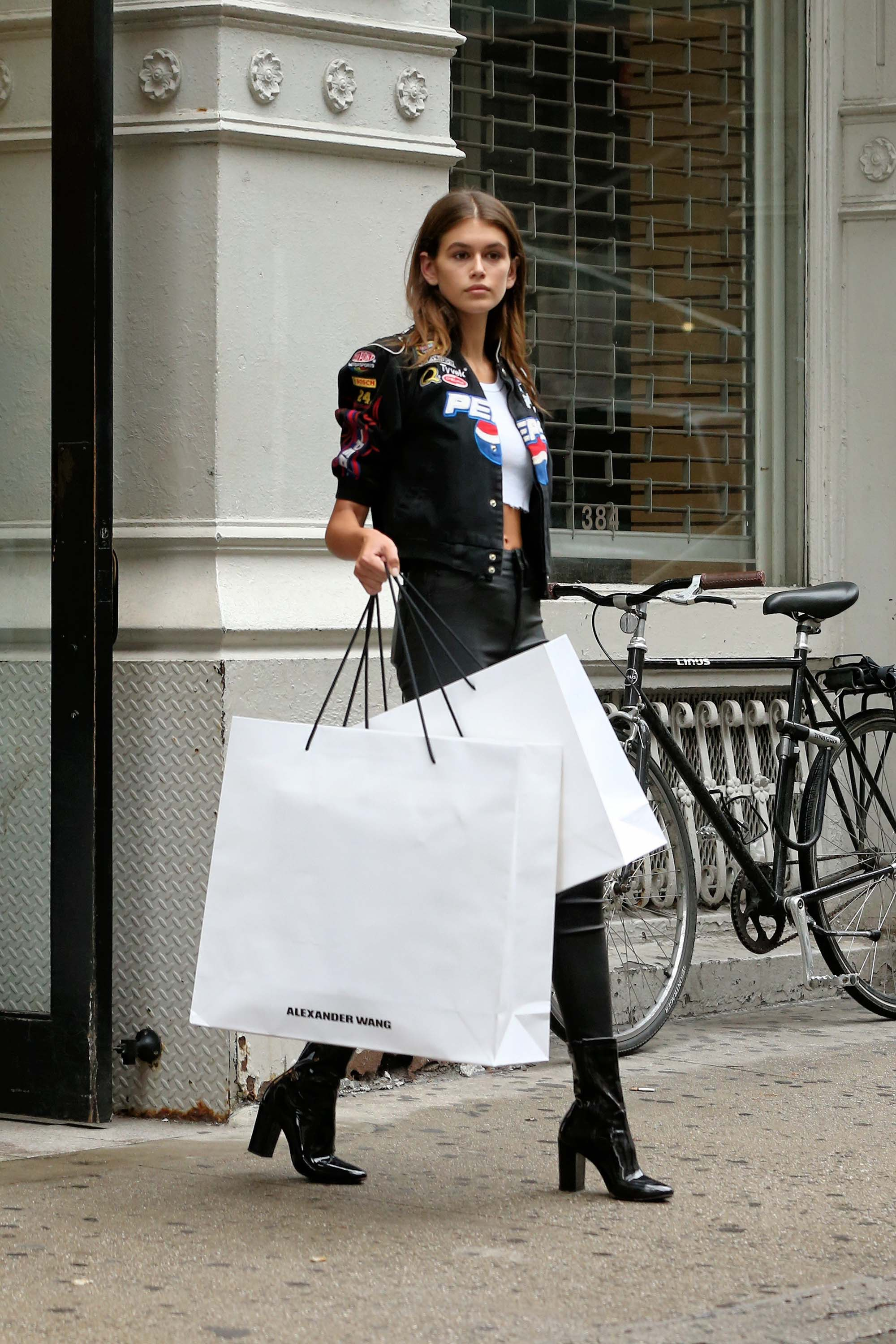 Kaia Gerber seen at the Alexander Wang fitting rooms