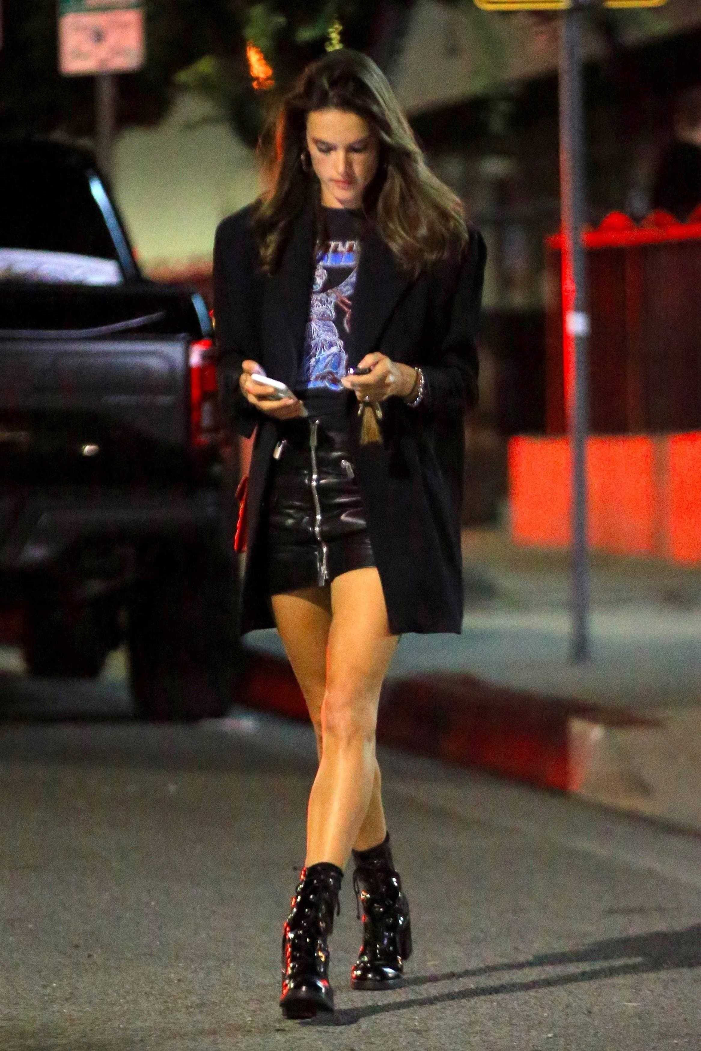 Alessandra Ambrosio leaving Genghis Cohen