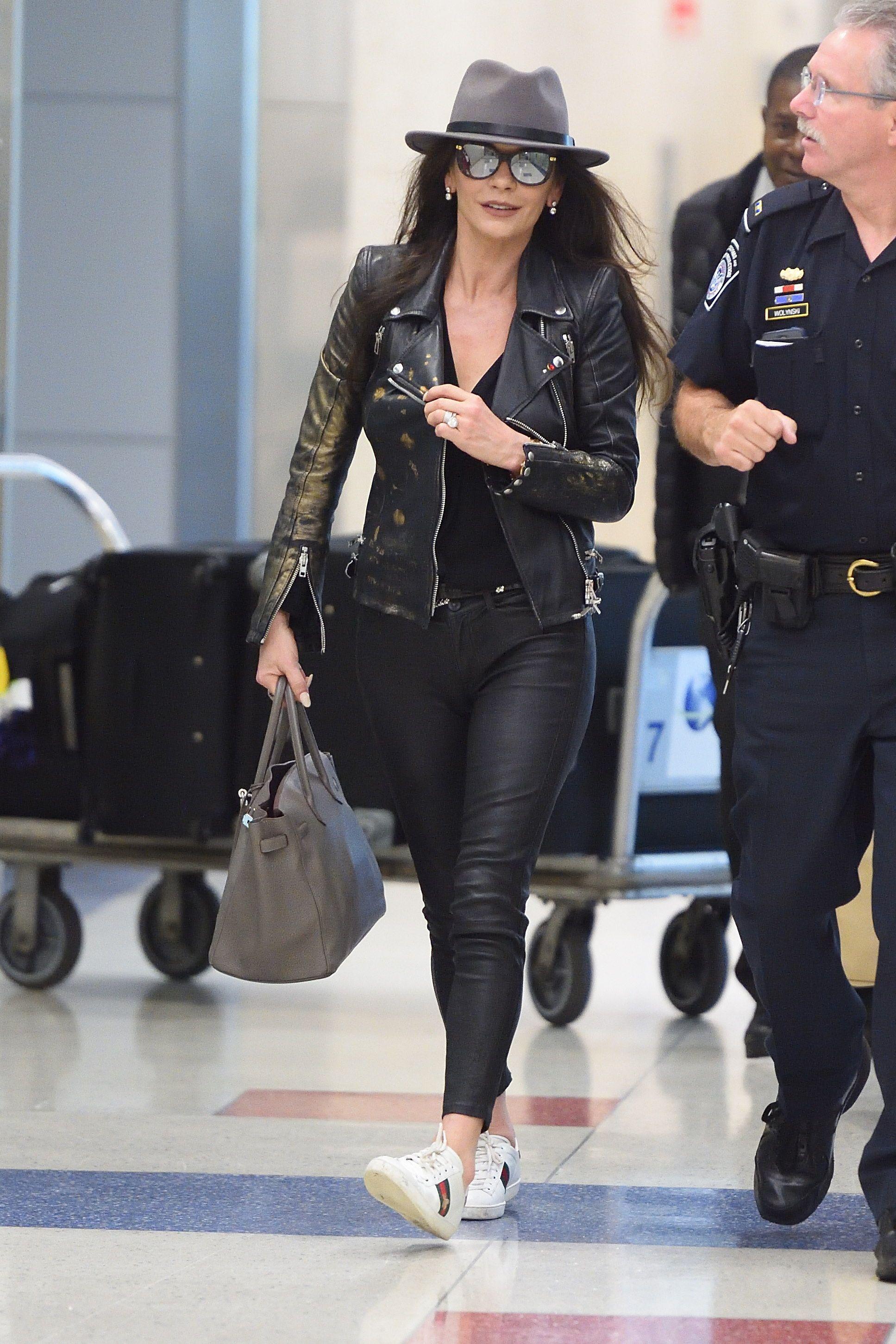 Catherine Zeta-Jones seen at JFK airport