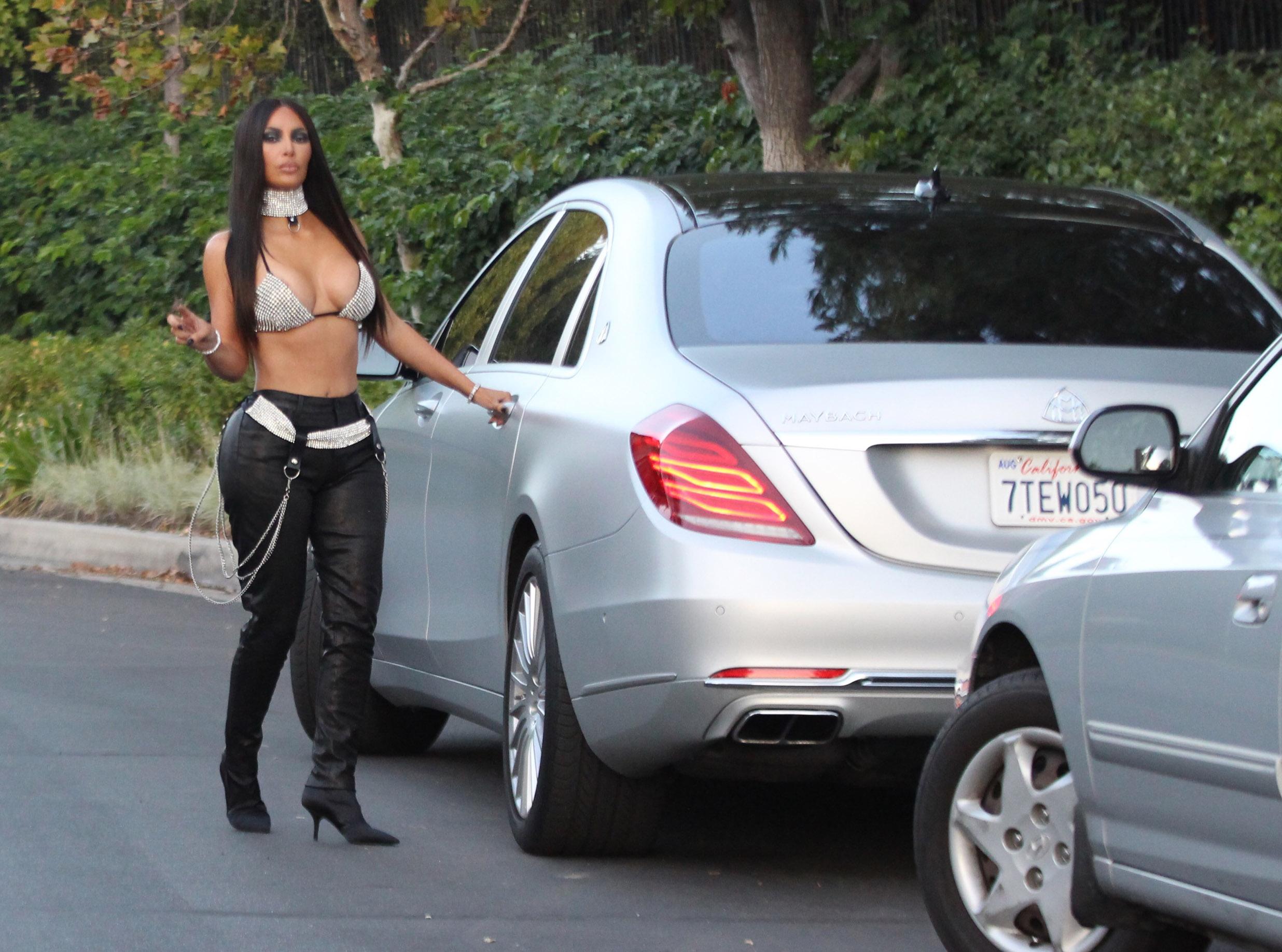 Kim Kardashian dressed as Aaliyah on Saturday night