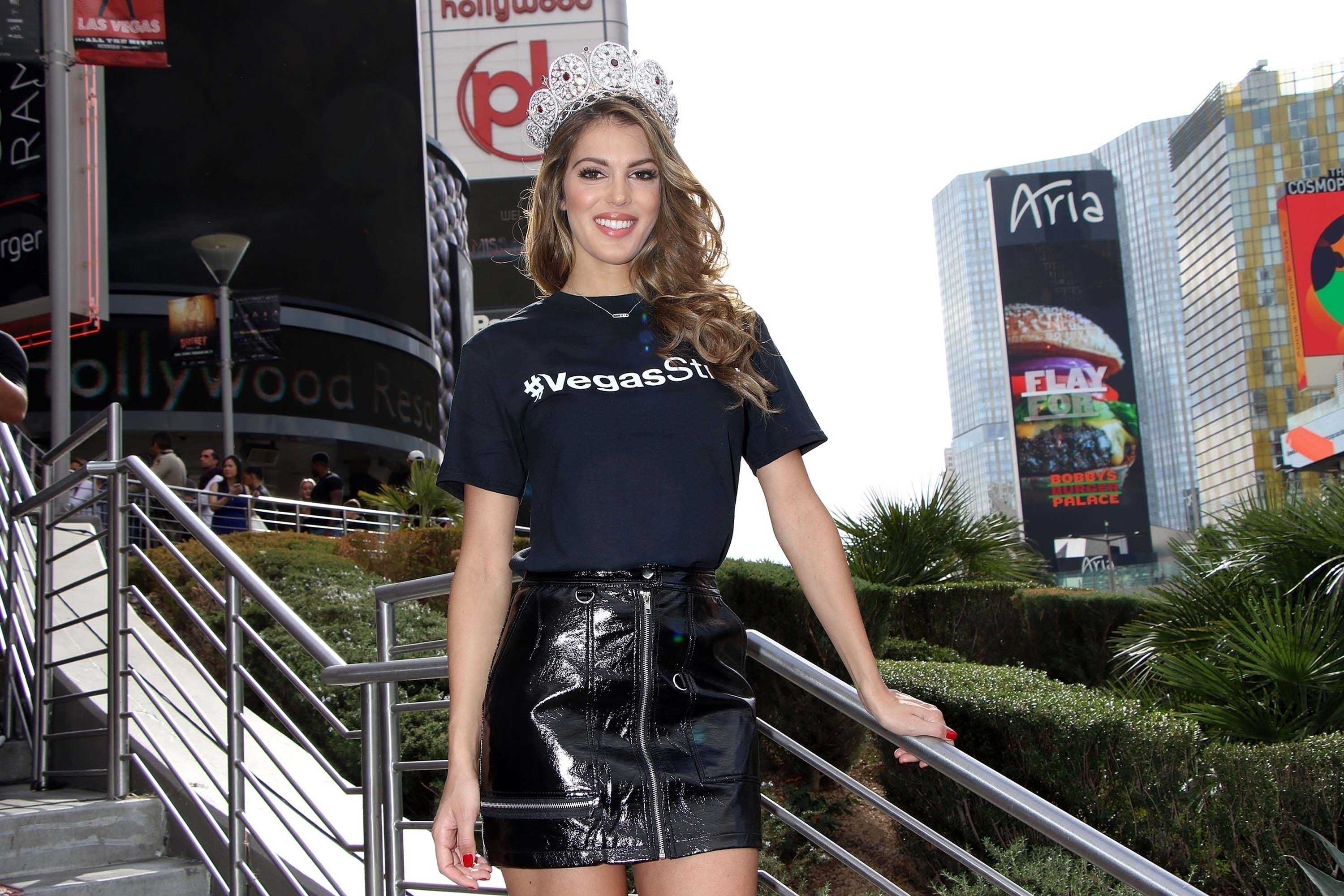 Iris Mittenaere poses as Miss Universe contestants arrive at a welcome event
