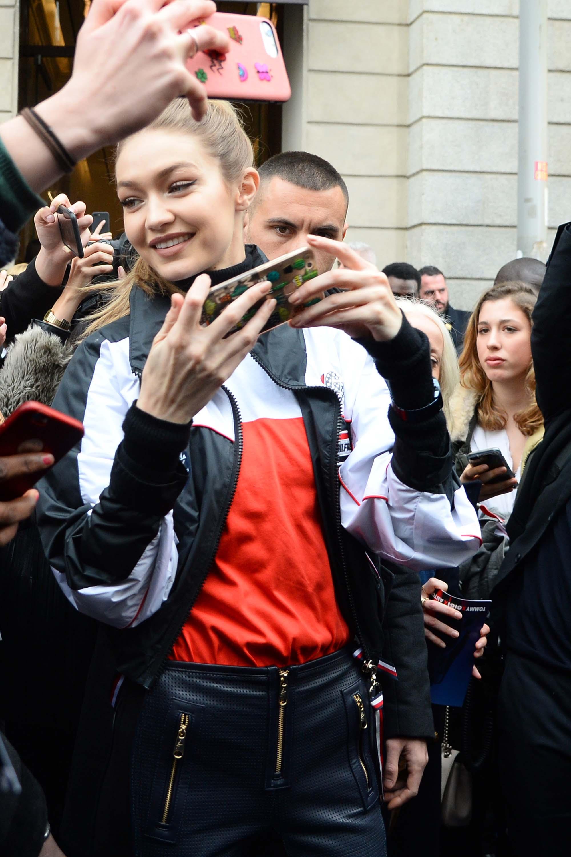 Gigi Hadid greeting fans outside TommyXGigi Capsule Collection Presentation