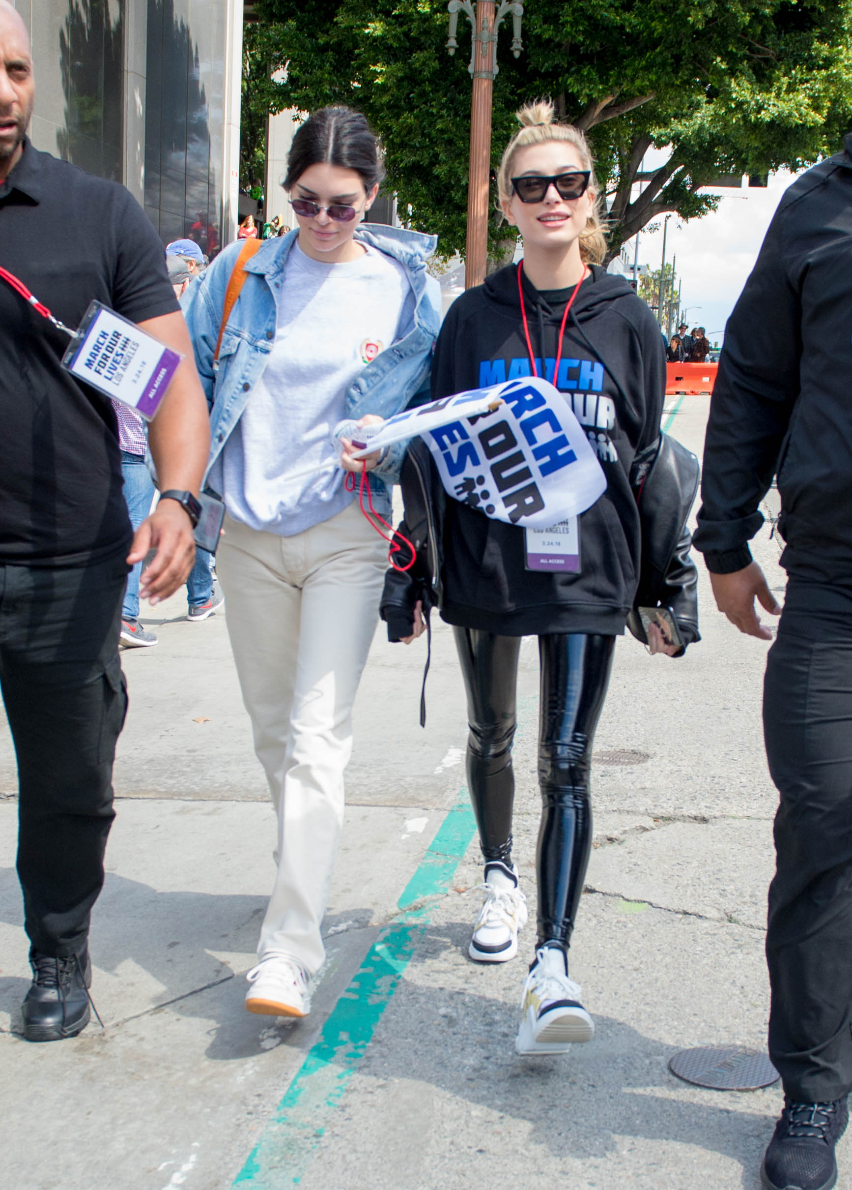 Hailey Baldwin marches at the anti-gun 'March For Our Lives'