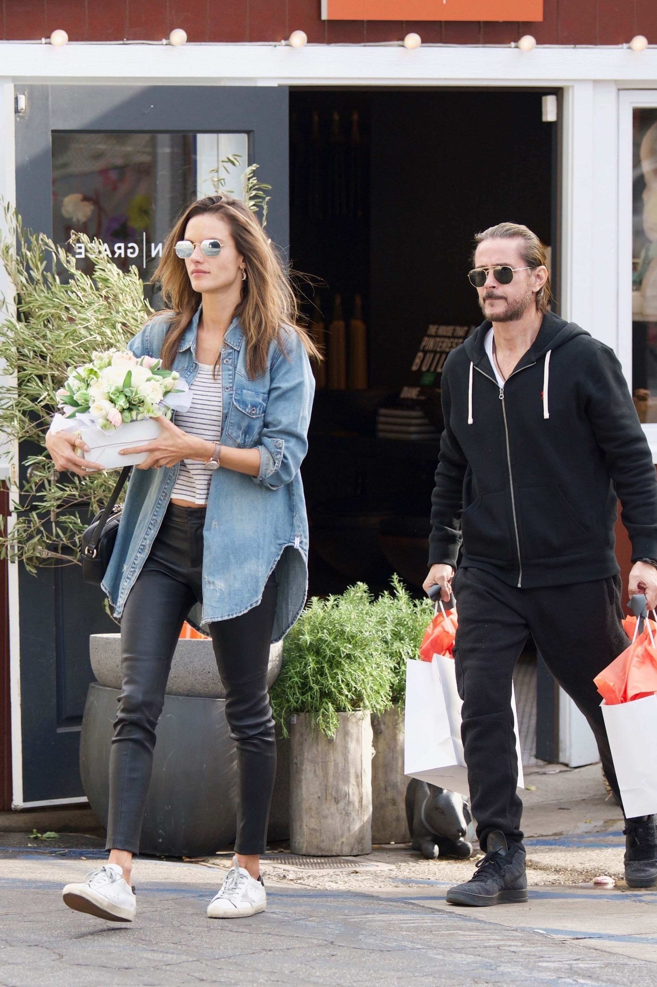Alessandra Ambrosio grabs some flowers for Easter