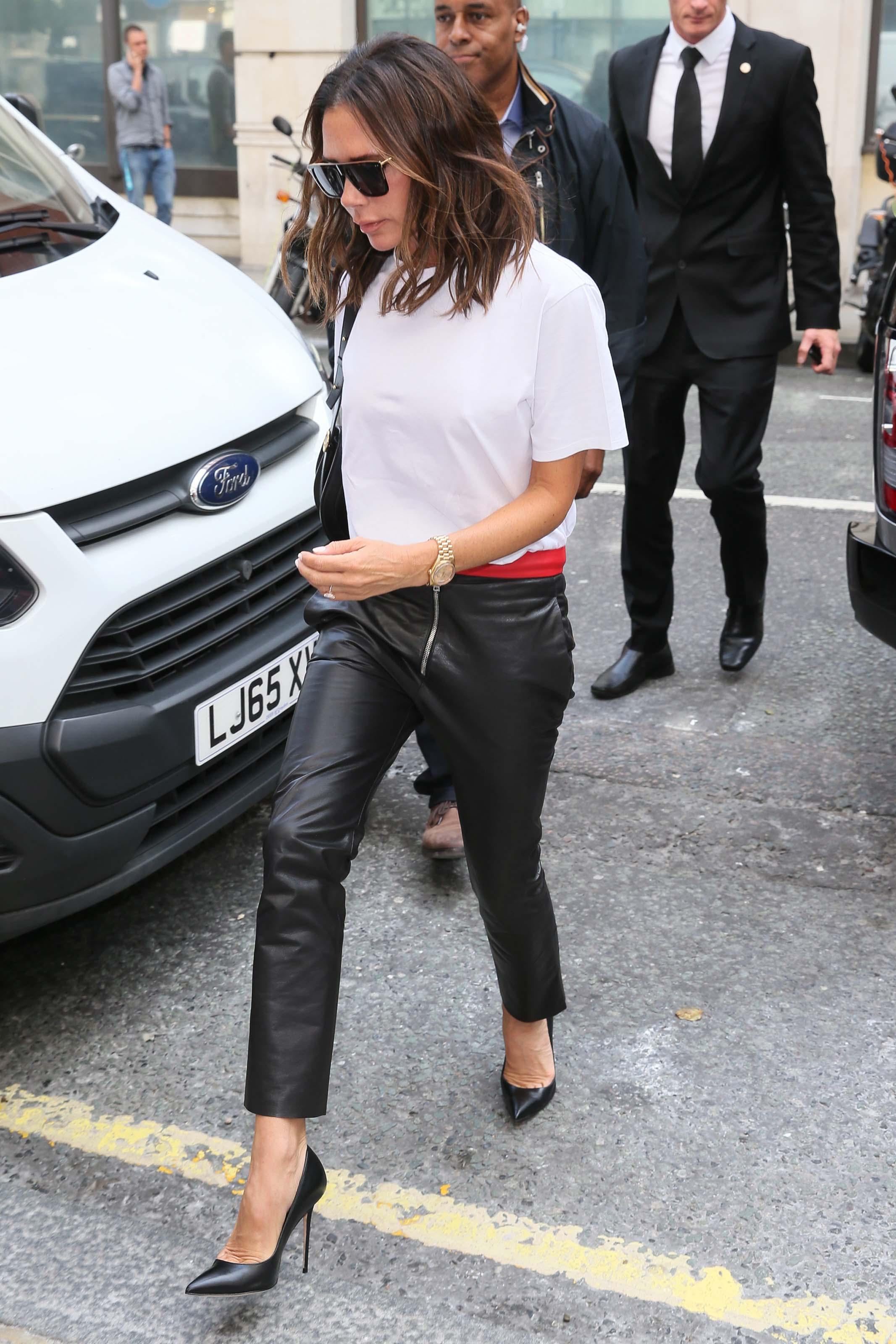 Victoria Beckham arrives BBC Radio 2 Studios