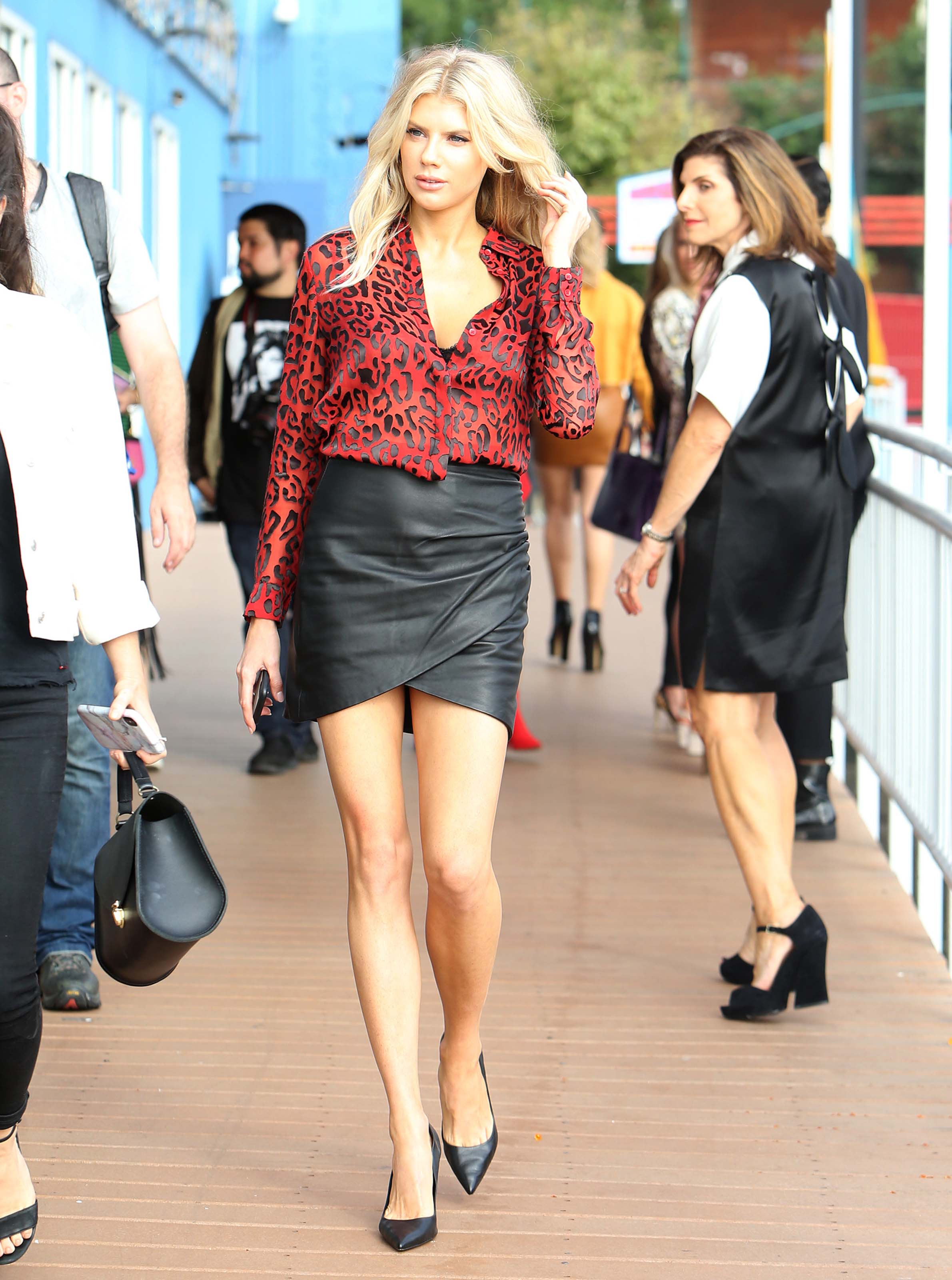 Charlotte McKinney arriving to Chelsea Piers for the Alice + Olivia fashion show