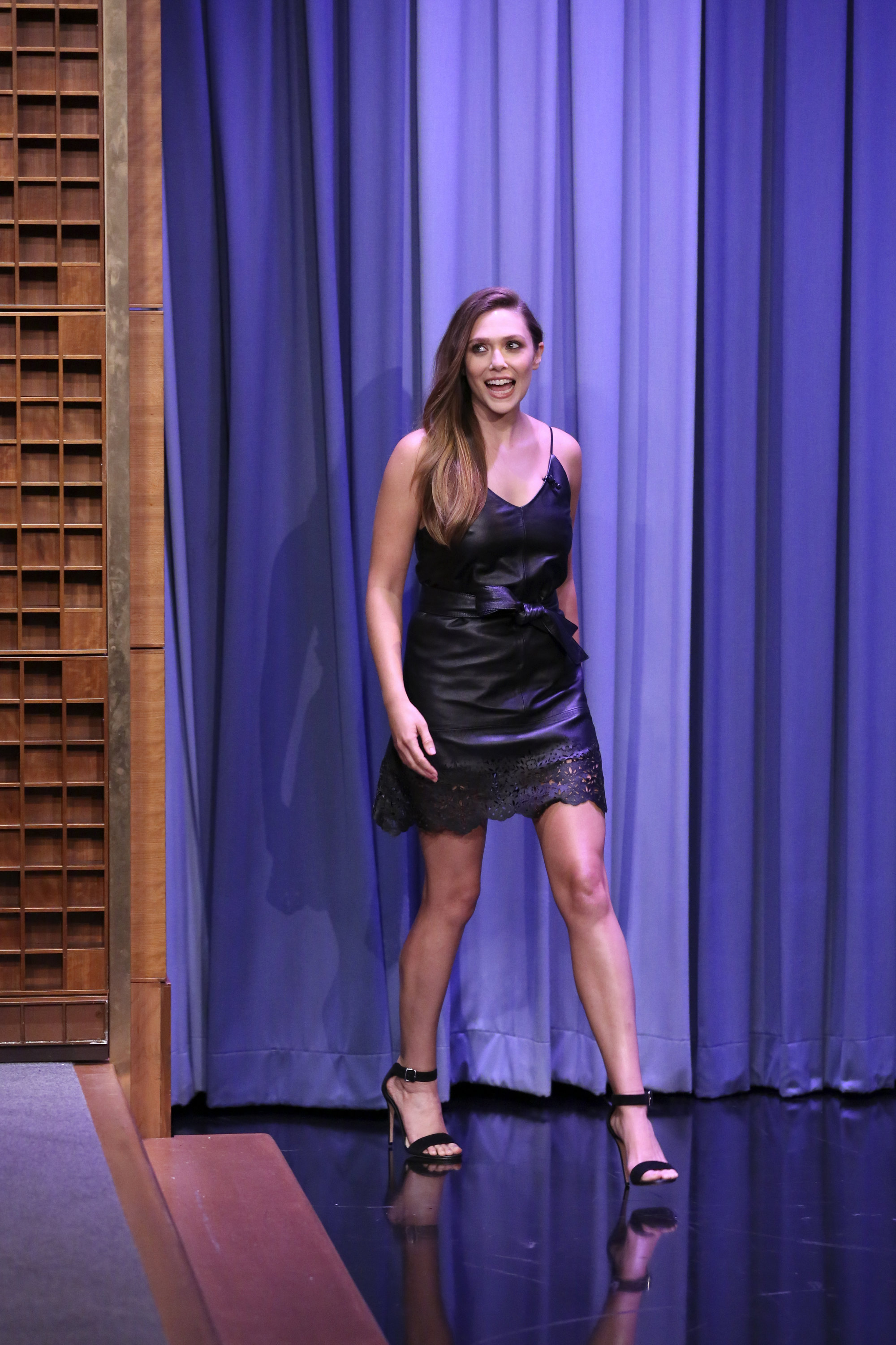 Elizabeth Olsen attends The Tonight Show