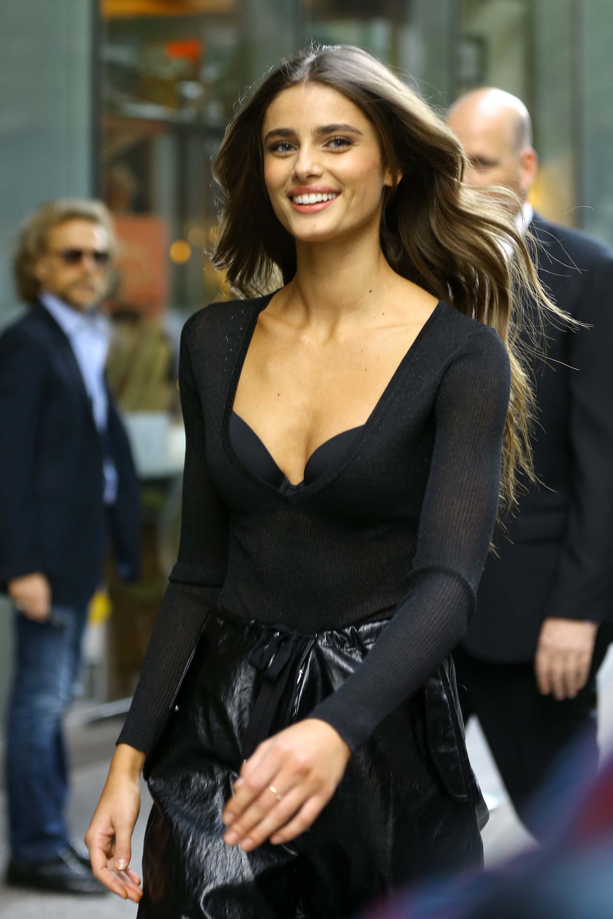 Taylor Hill films a small promo event in NYC showcasing her Angel Wings