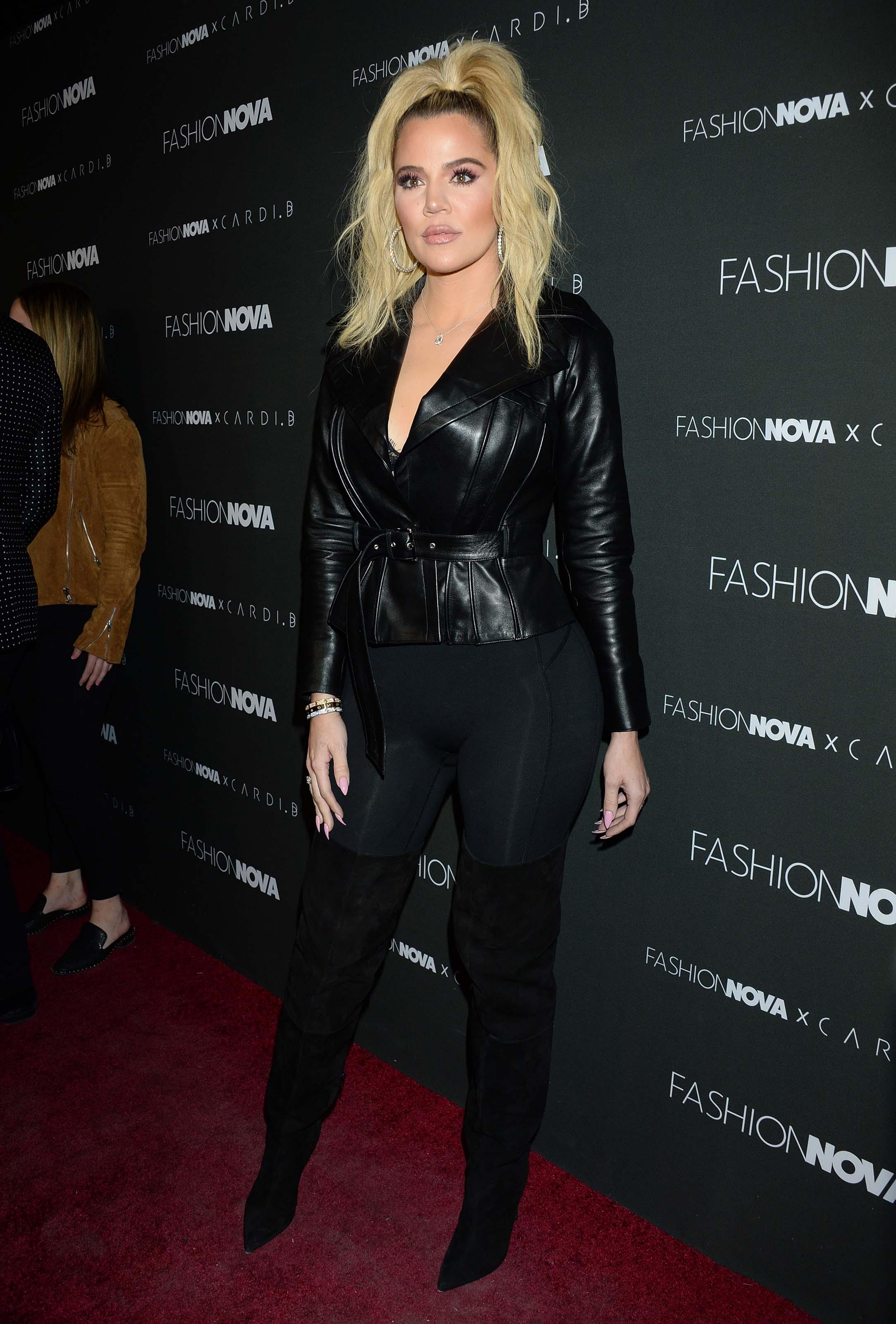 Khloe Kardashian & Hrush Achemyan attend Fashion Nova x Cardi B Launch Event