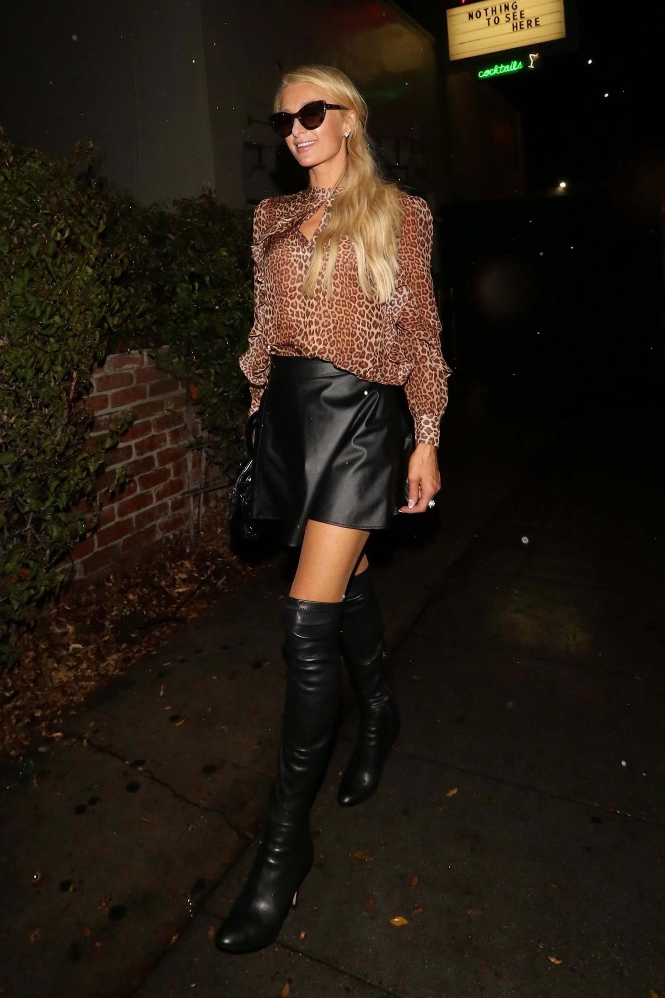 Paris Hilton leaving at Delilah Nightclub