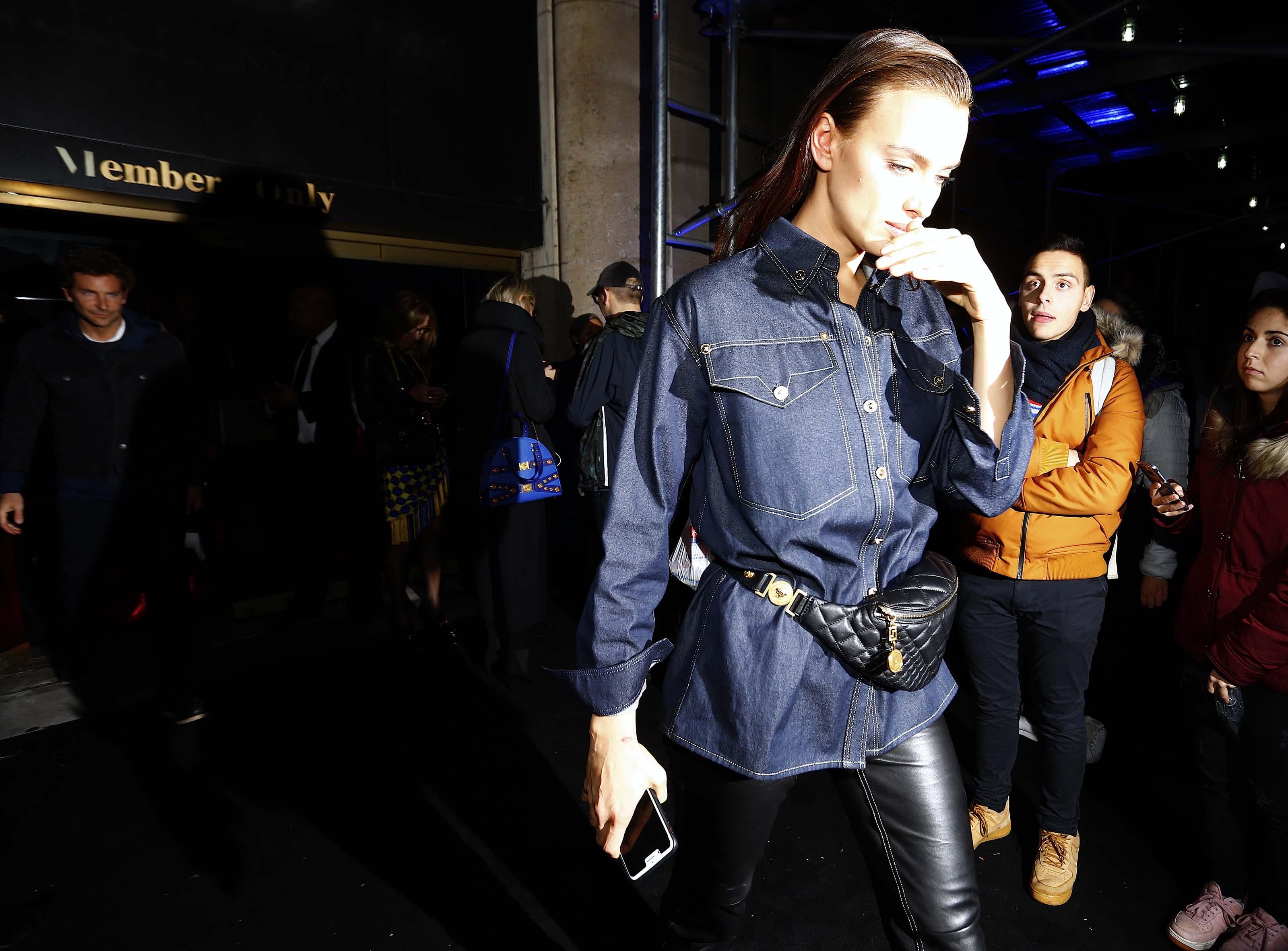 Irina Shayk seen at the Versace fashion show