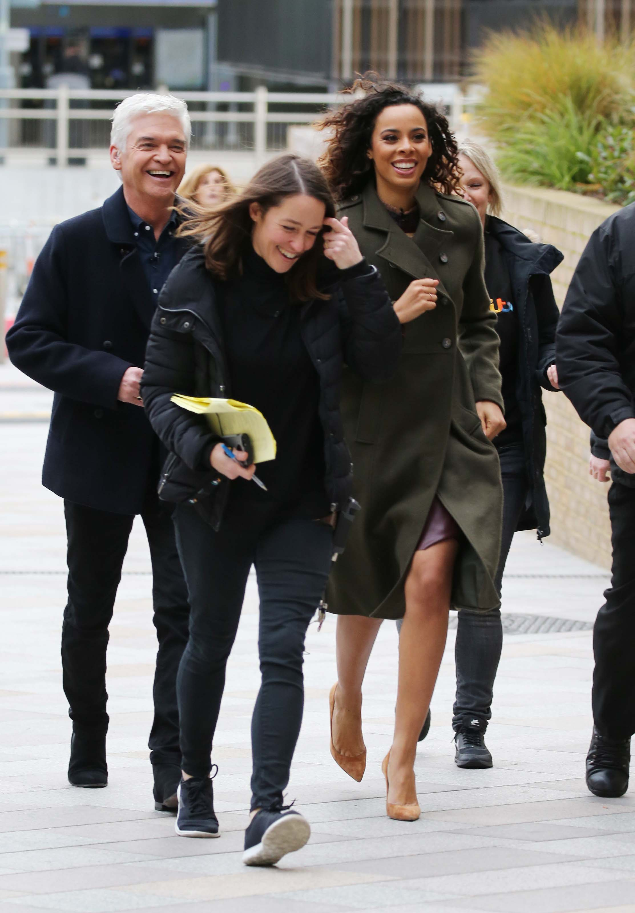 Rochelle Humes filming This Morning Outside ITV Studios