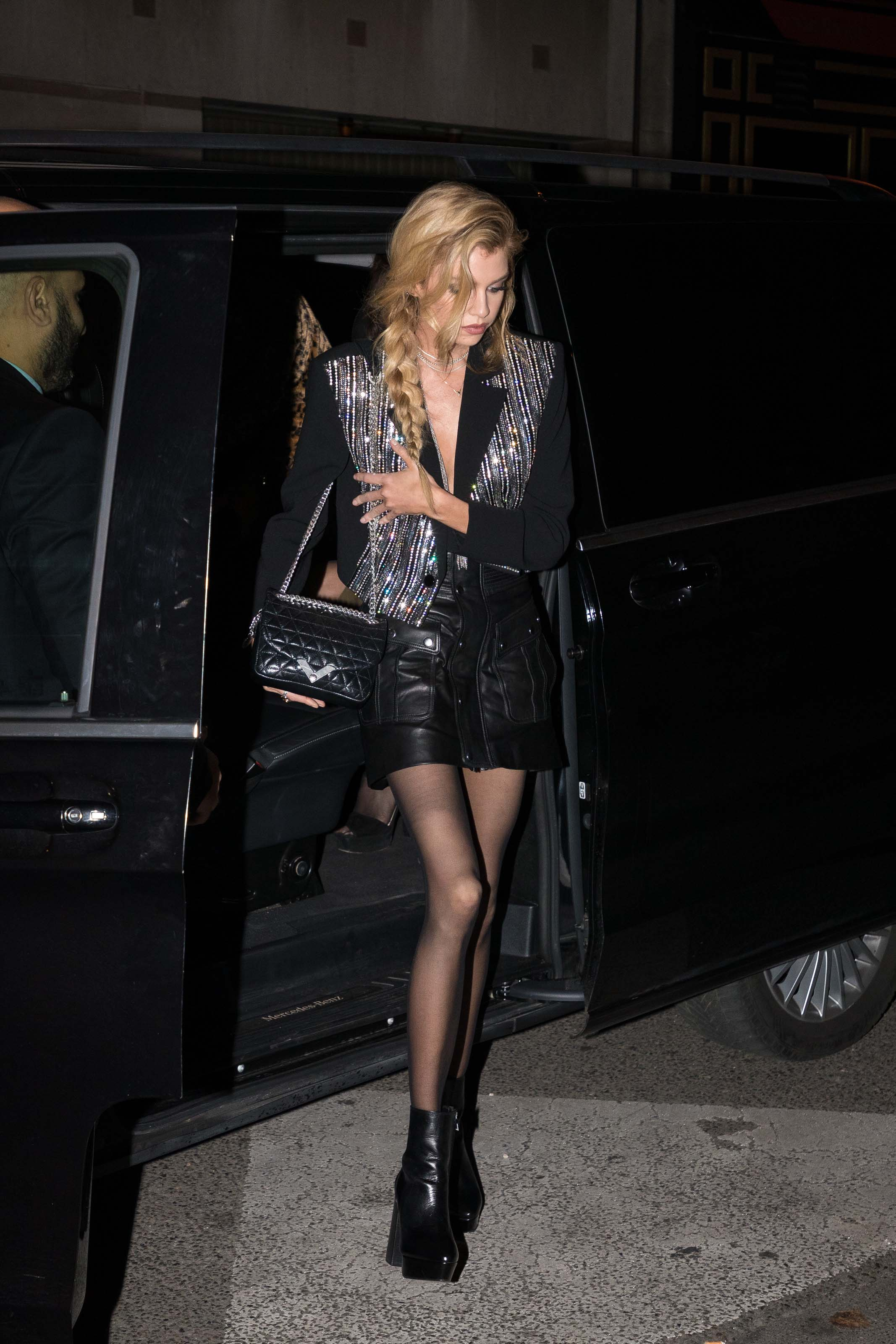 Stella Maxwell arrives at The Kooples party