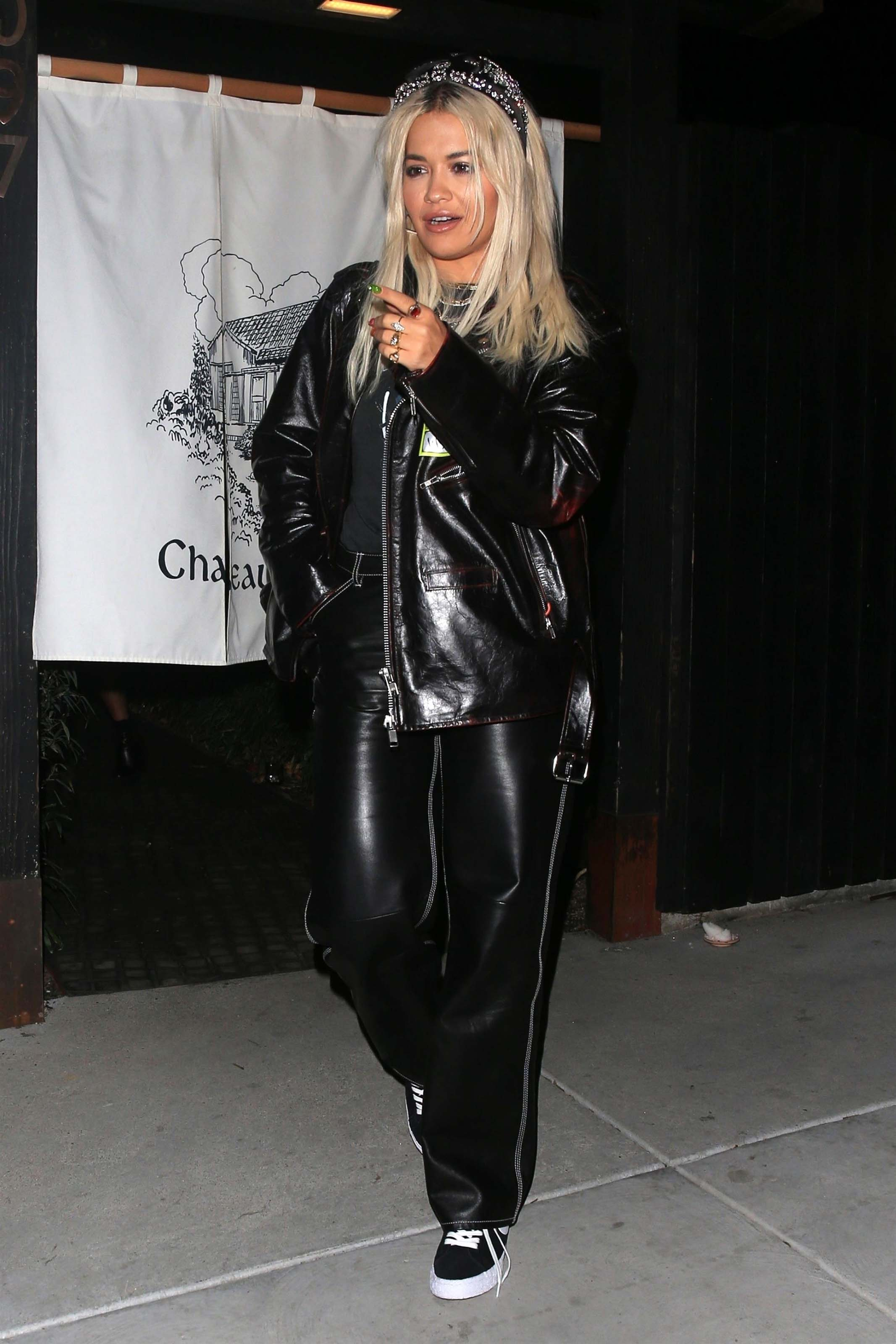 Rita Ora leaving Chateau Hanare