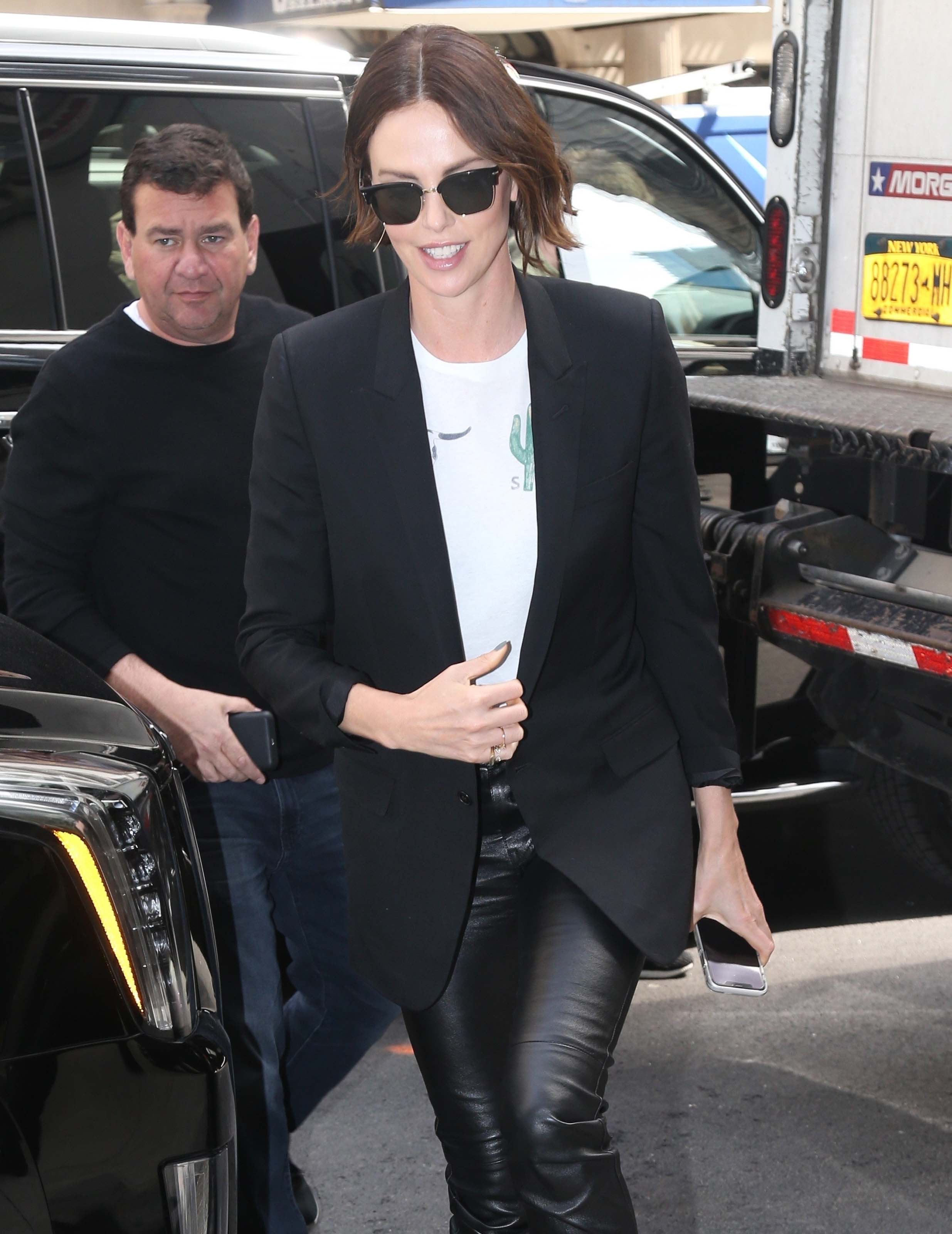 Charlize Theron promoting Long Shot In New York 04/29/2019