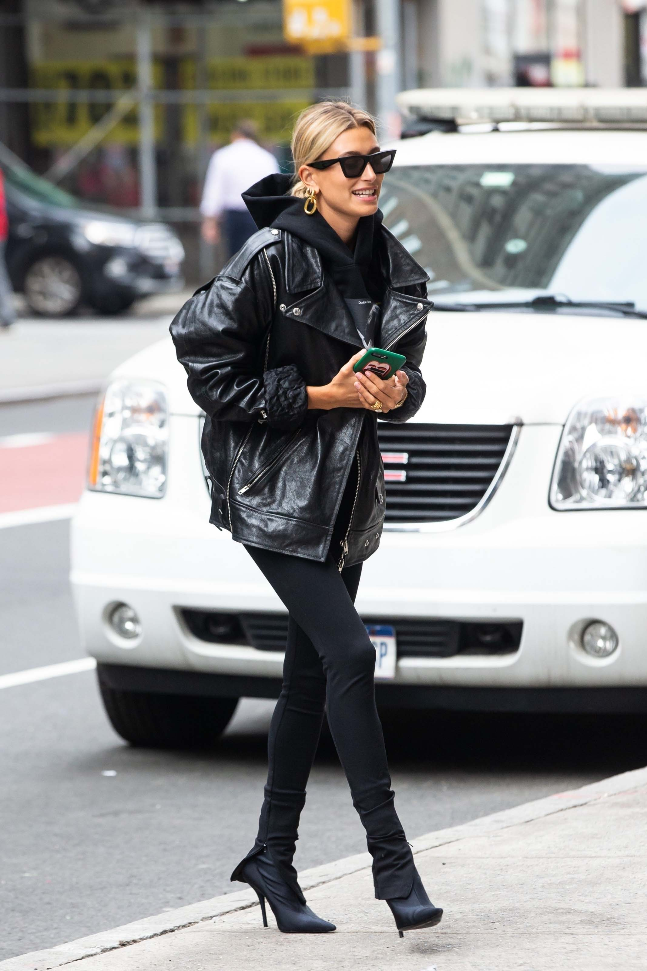Hailey Baldwin arriving at an office building