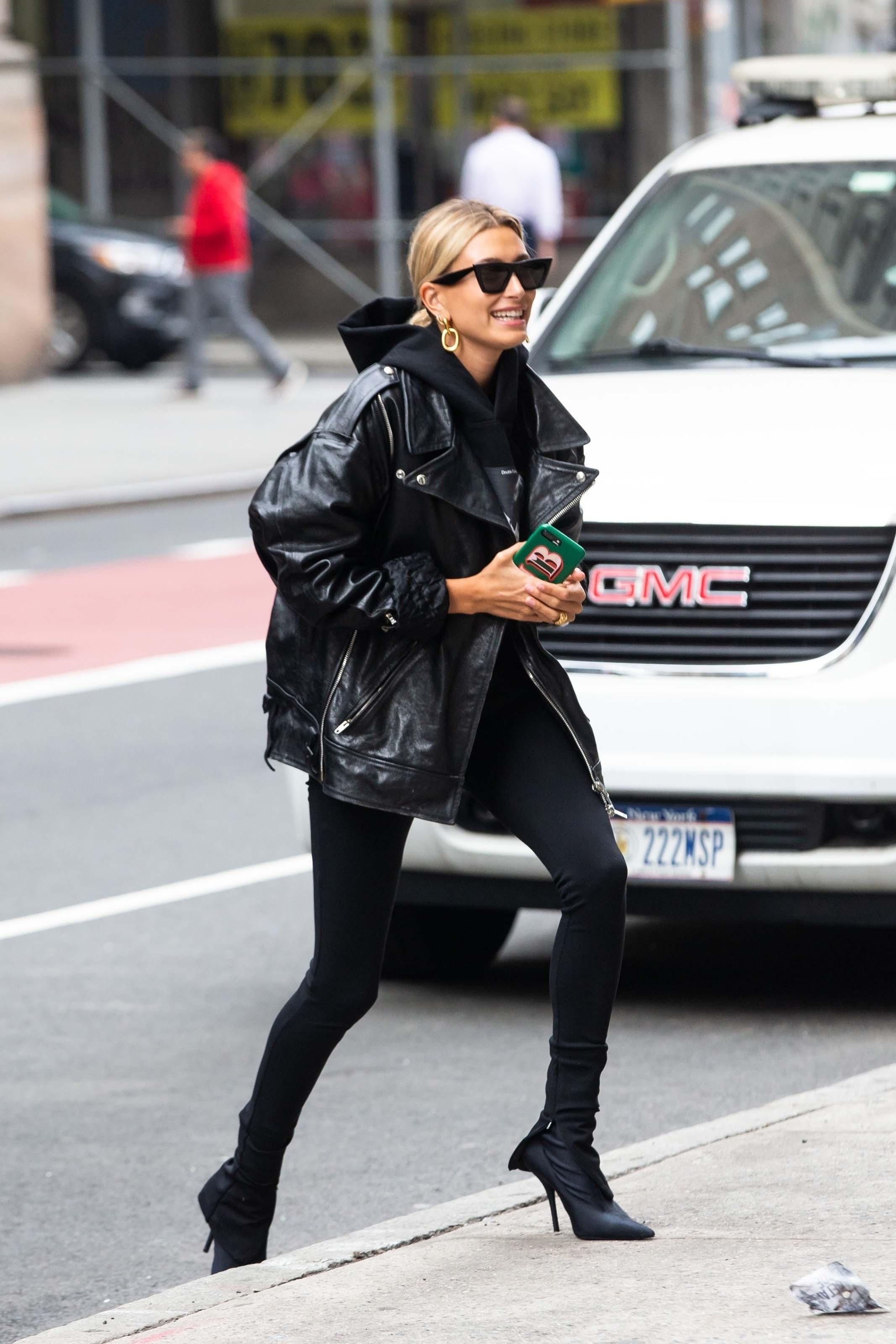 Hailey Baldwin arriving at an office building