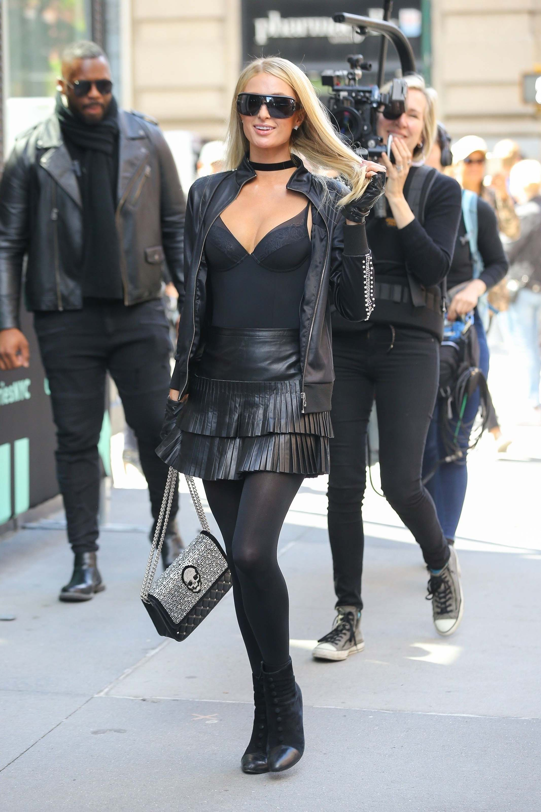 Paris Hilton arrives at the build series