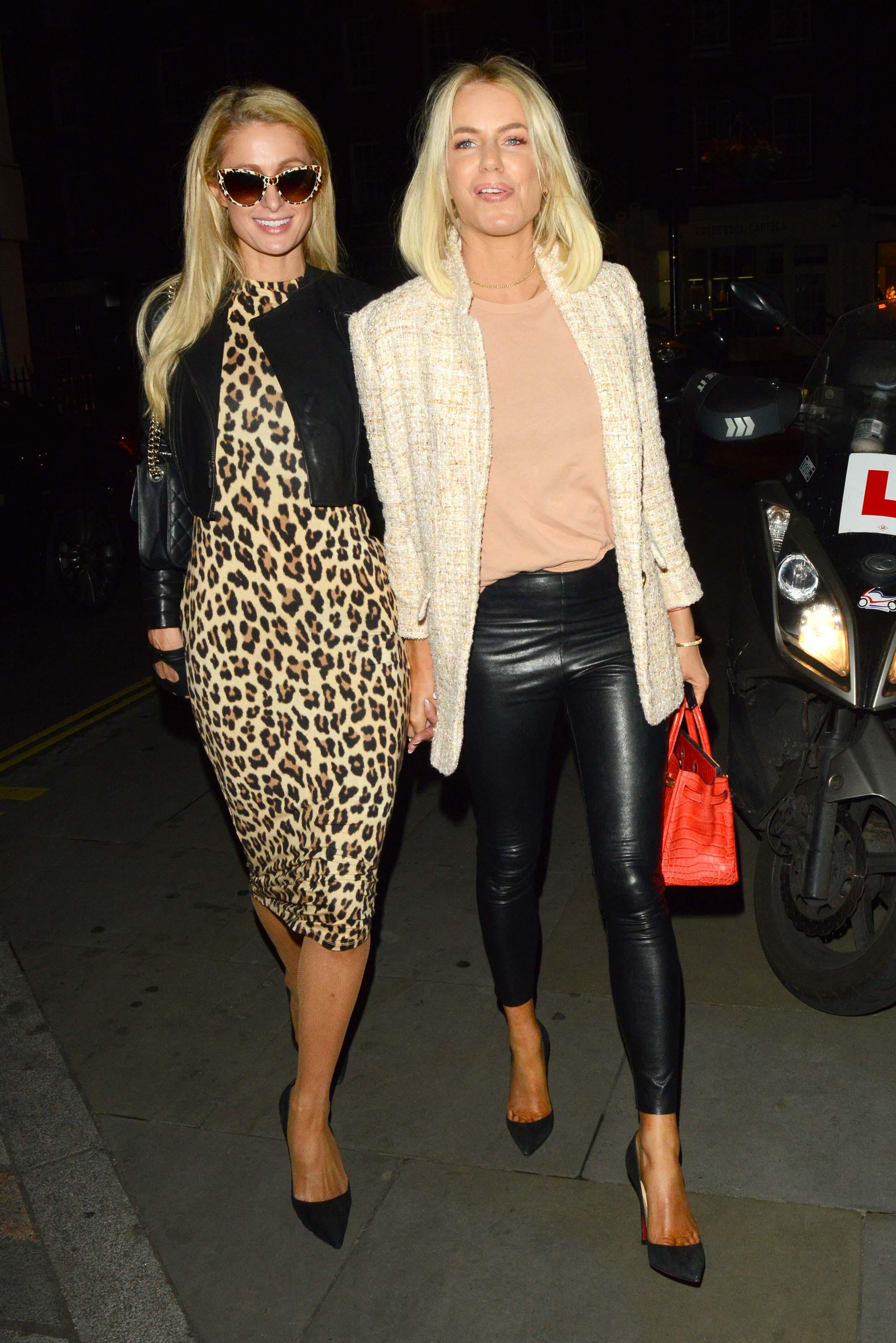 Paris Hilton & Caroline Stanbury arrive at Chiltern Firehouse