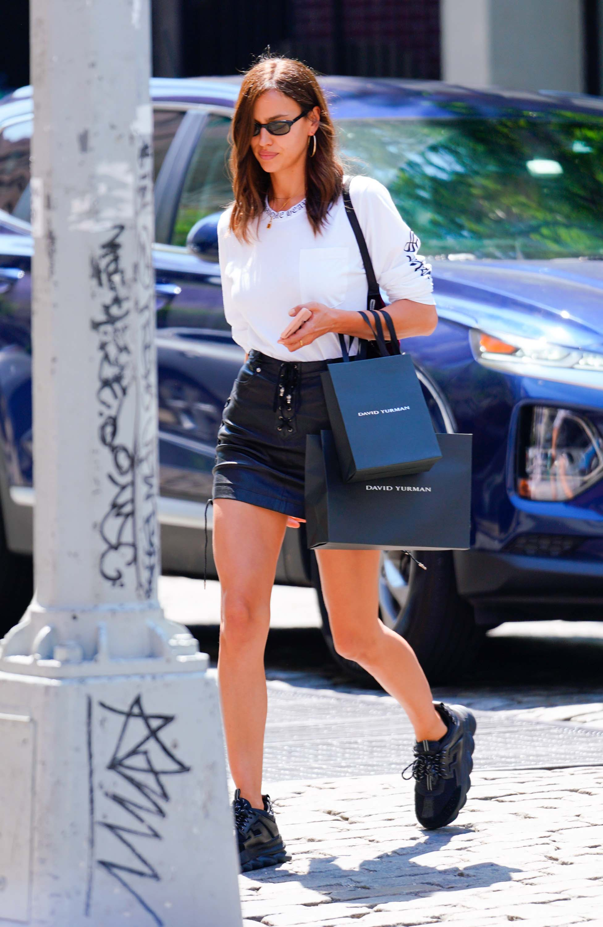 Irina Shayk out for shopping