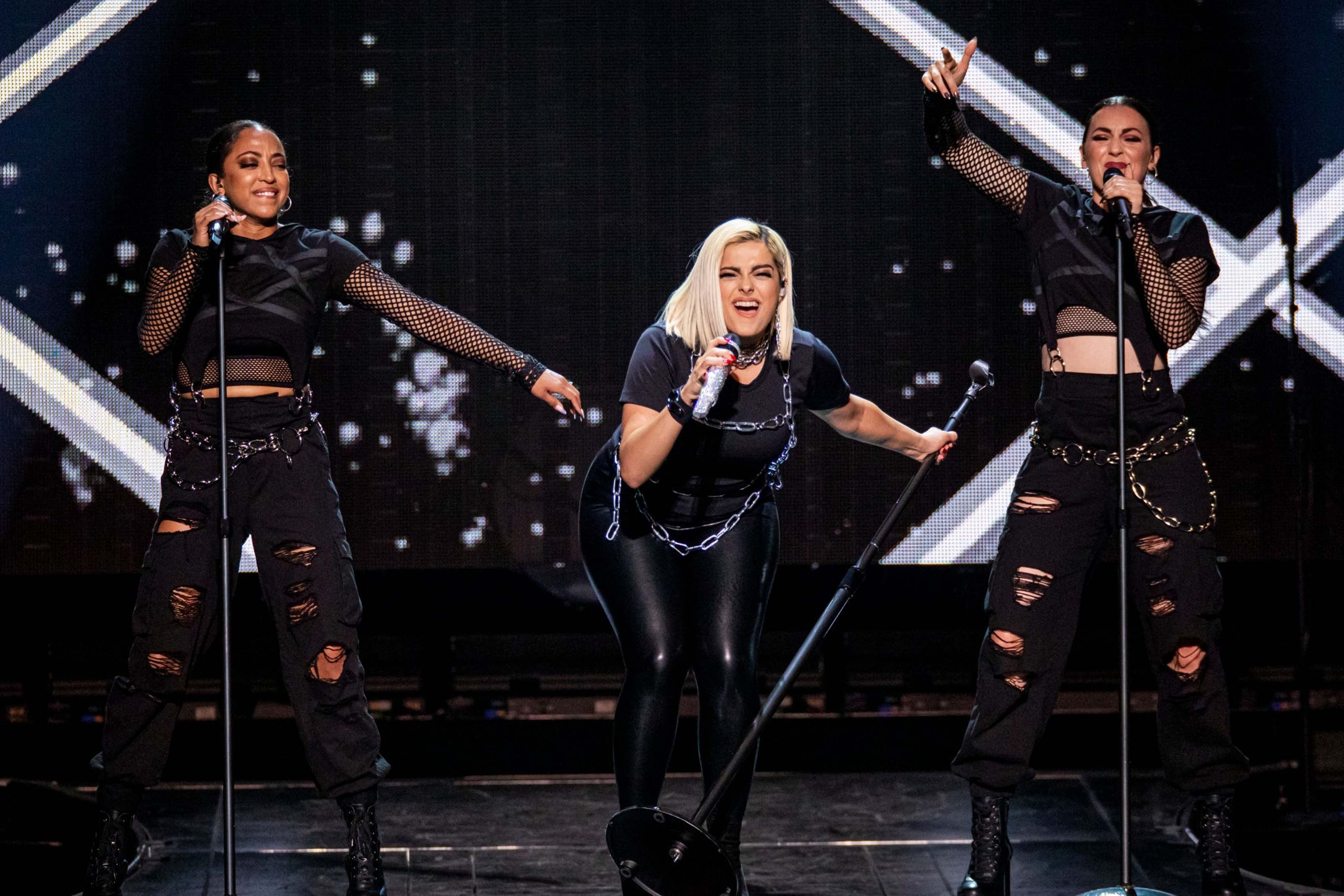 Bebe Rexha performs during The Jonas Brothers 'Happiness Begins' Tour