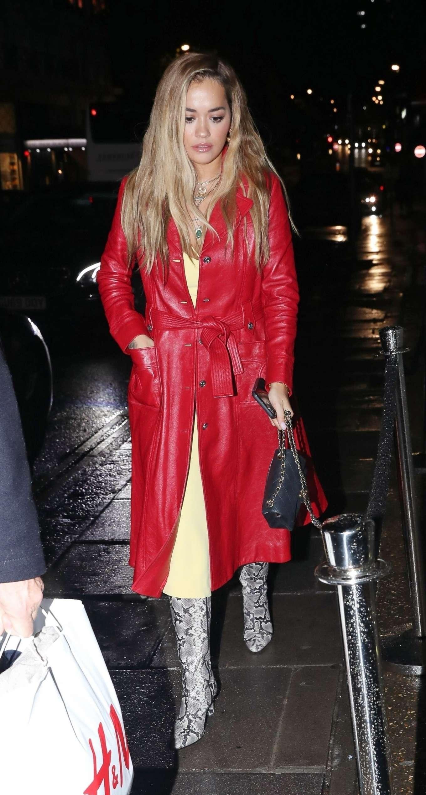 Rita Ora outside NOBU restarant