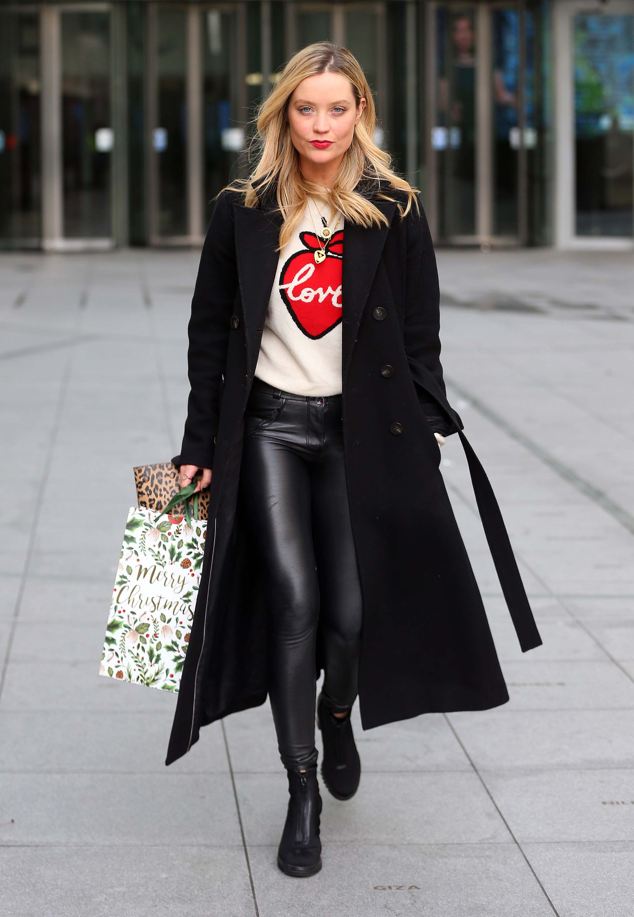 Laura Whitmore otside BBC Radio