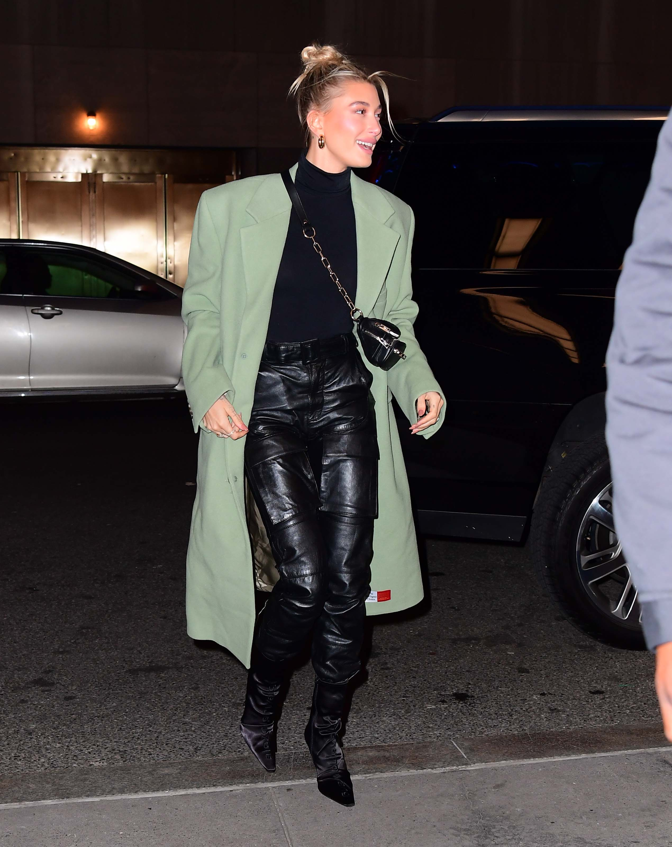 Hailey Bieber arrives at Saturday Night Live
