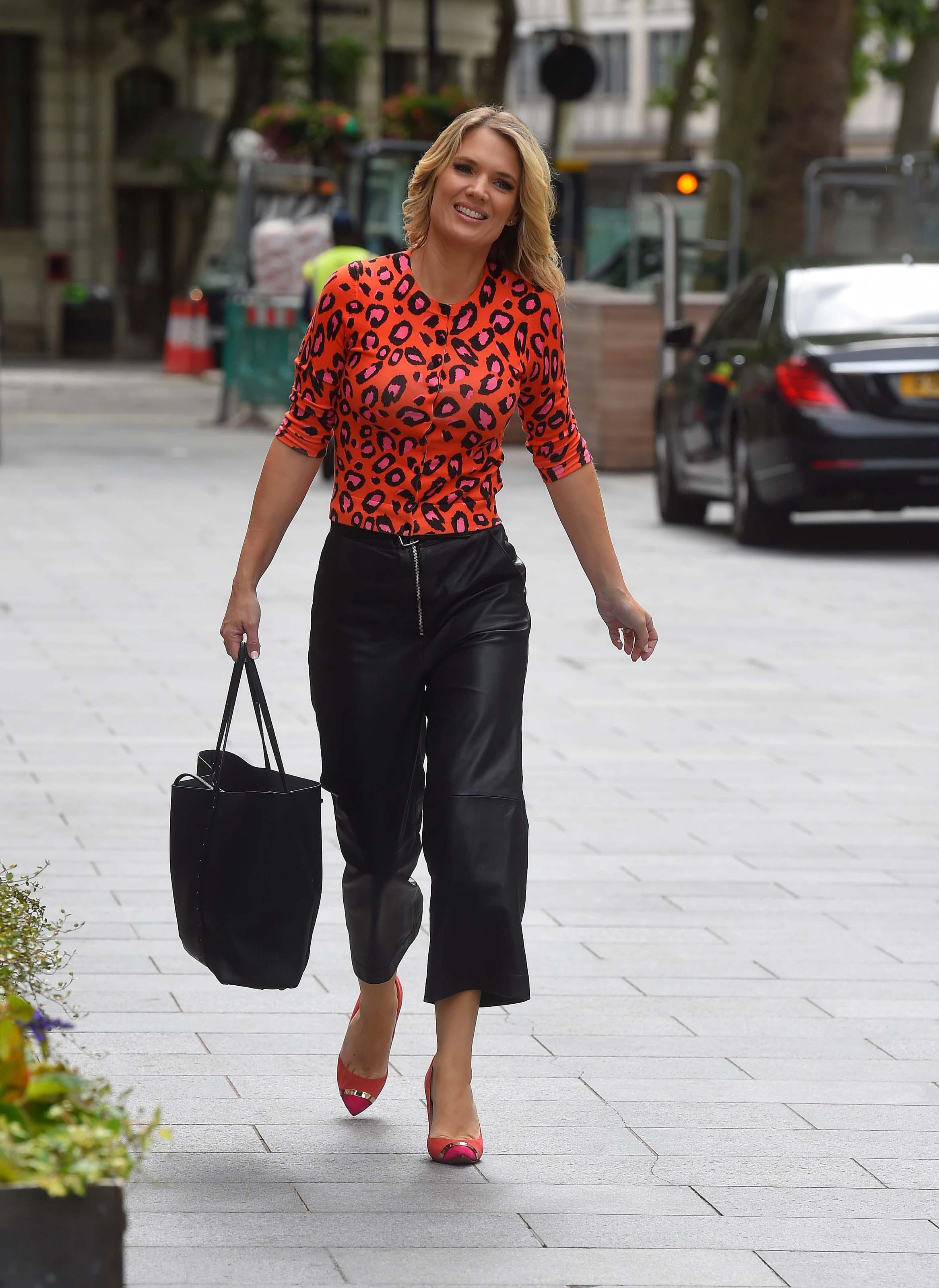 Charlotte Hawkins arriving at the Global Radio Studios