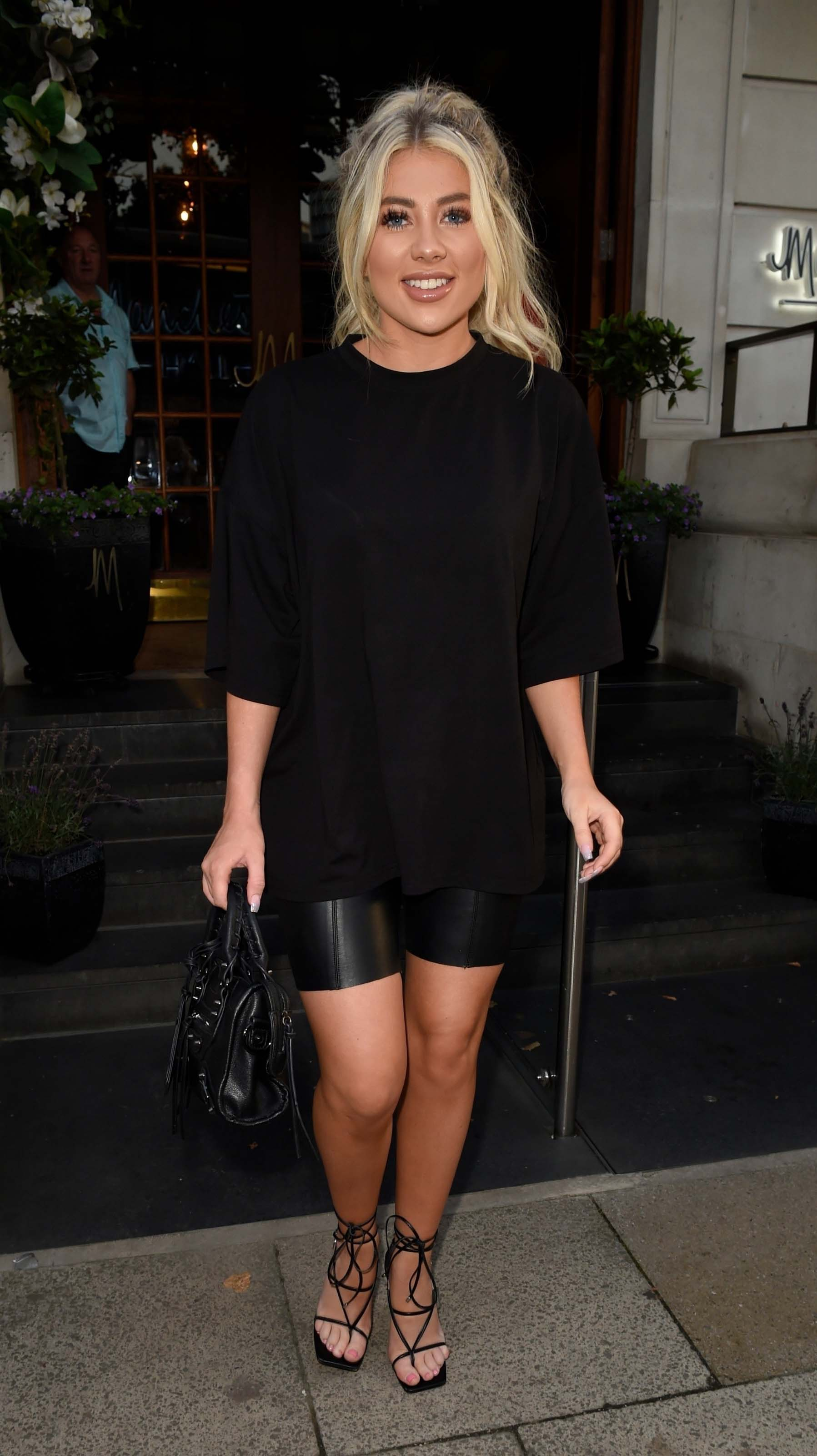 Paige Turley puts on leggy display as she enjoys night out