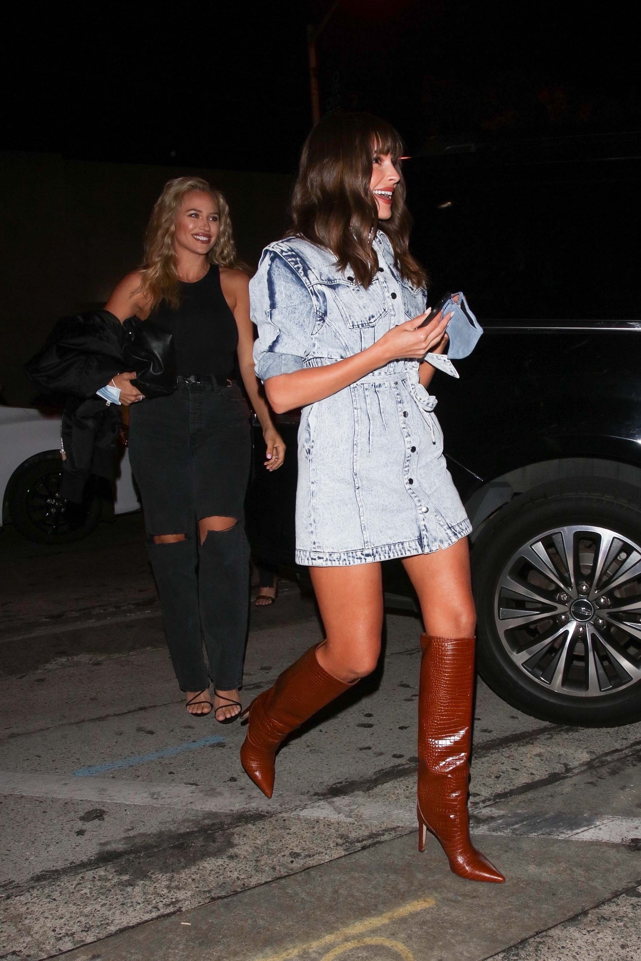 Olivia Culpo seen at Craig's while out celebrating Sophia Culpo Birthday in West Hollywood