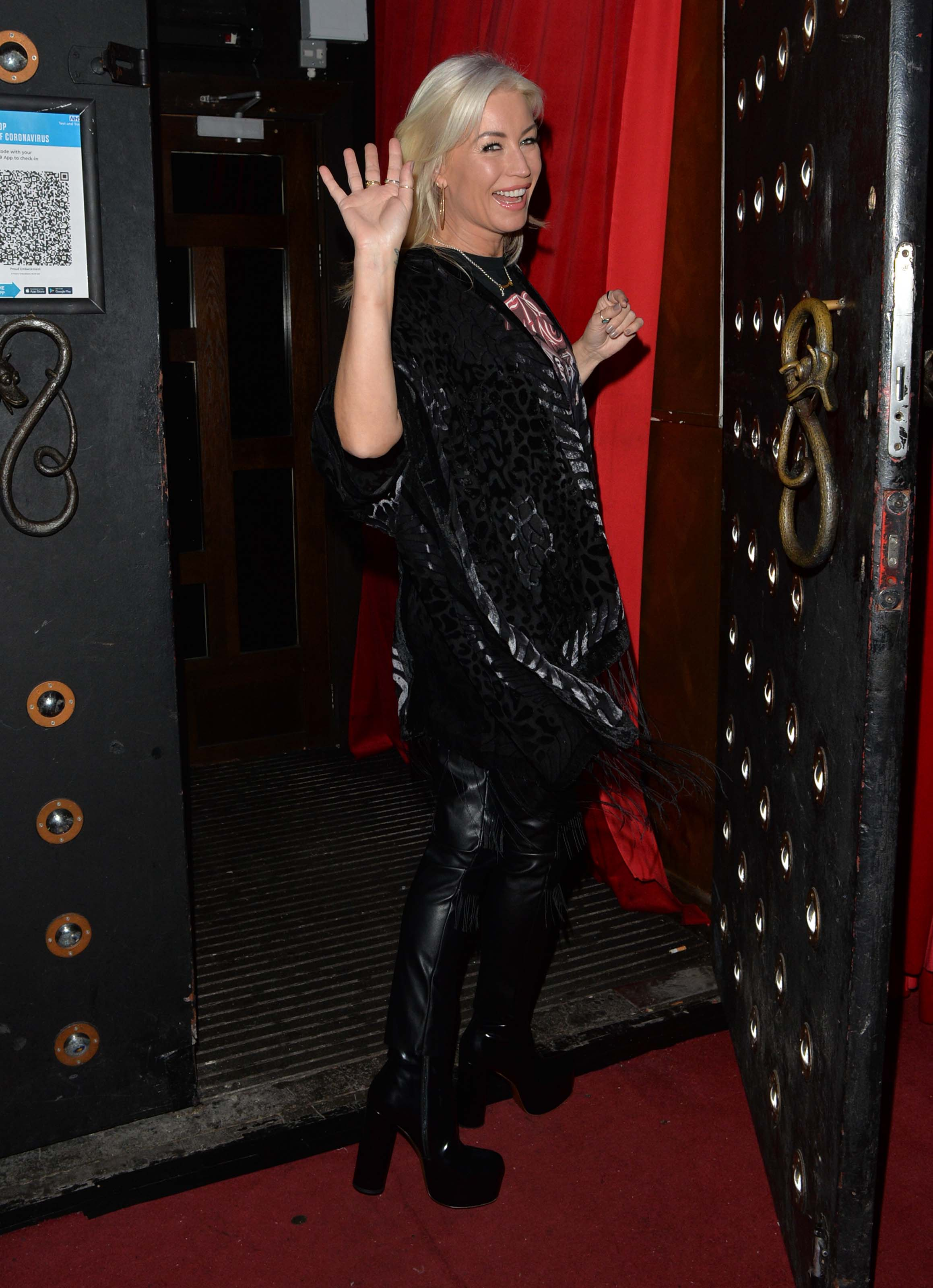 Denise Van Outen attends Proud Embankment to do preparations for a Halloween special