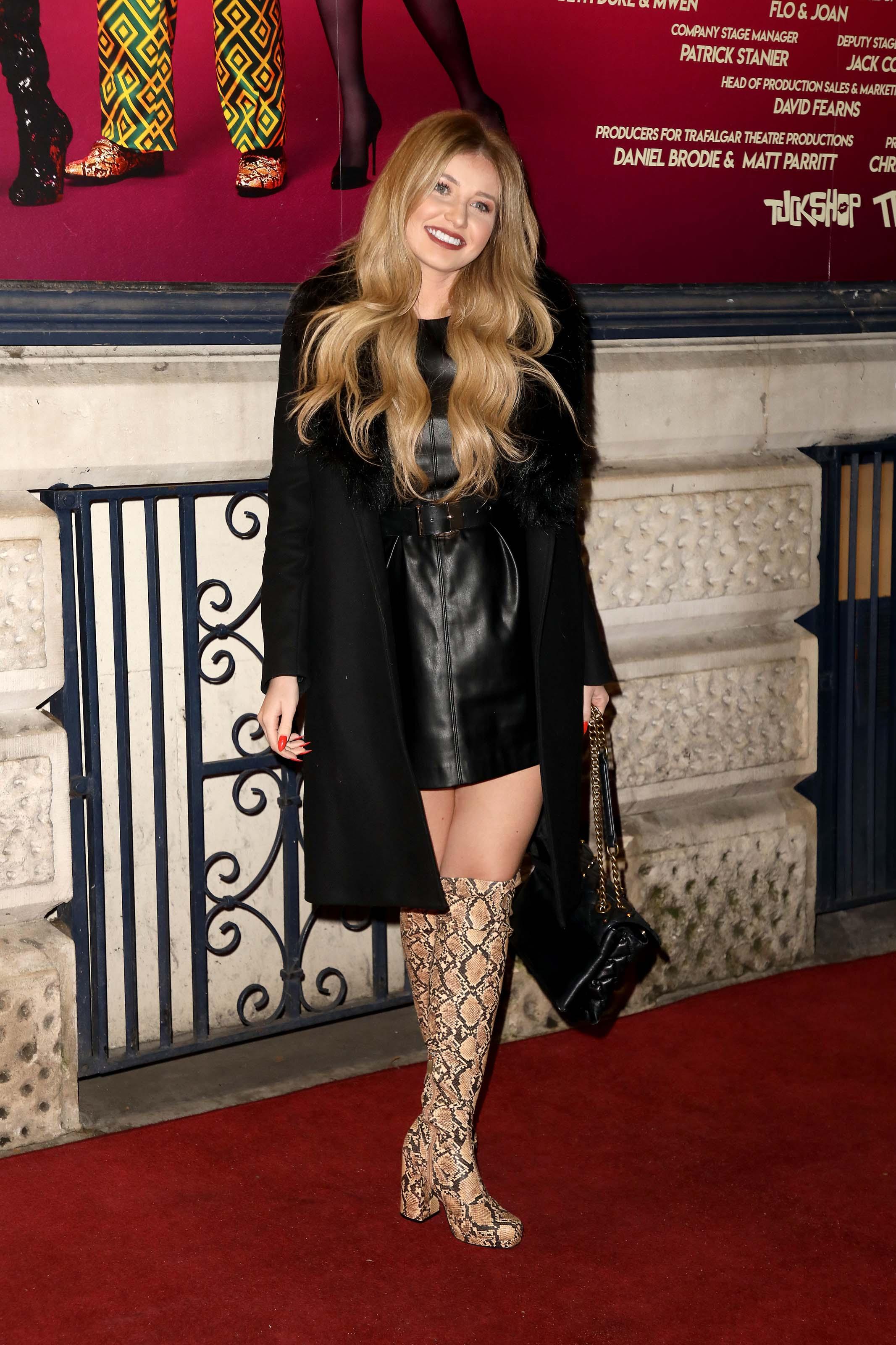 Amy Hart attends Death Drop play press night at Garrick Theatre