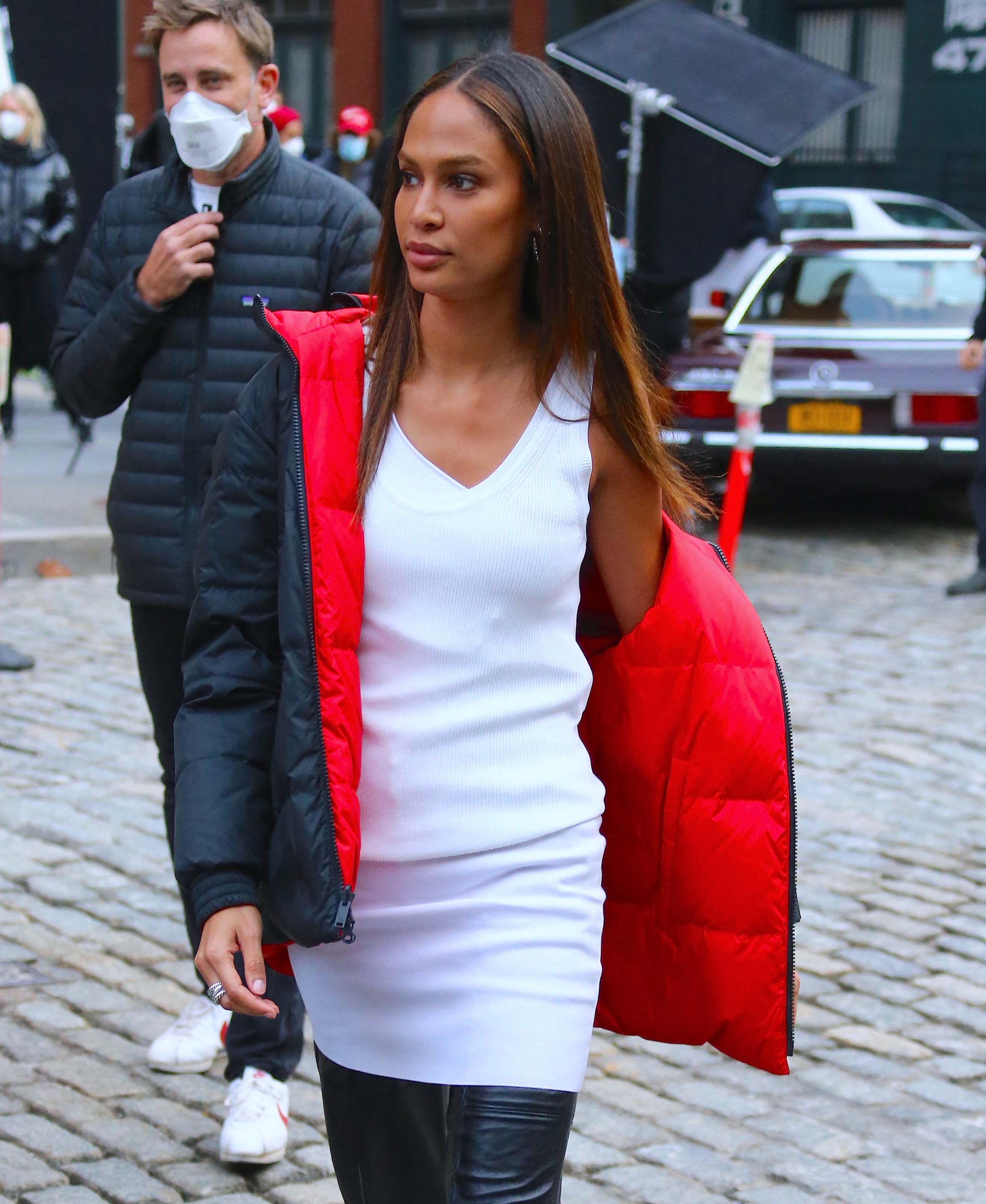 Joan Smalls doing a photoshoot in Tribeca, New York City