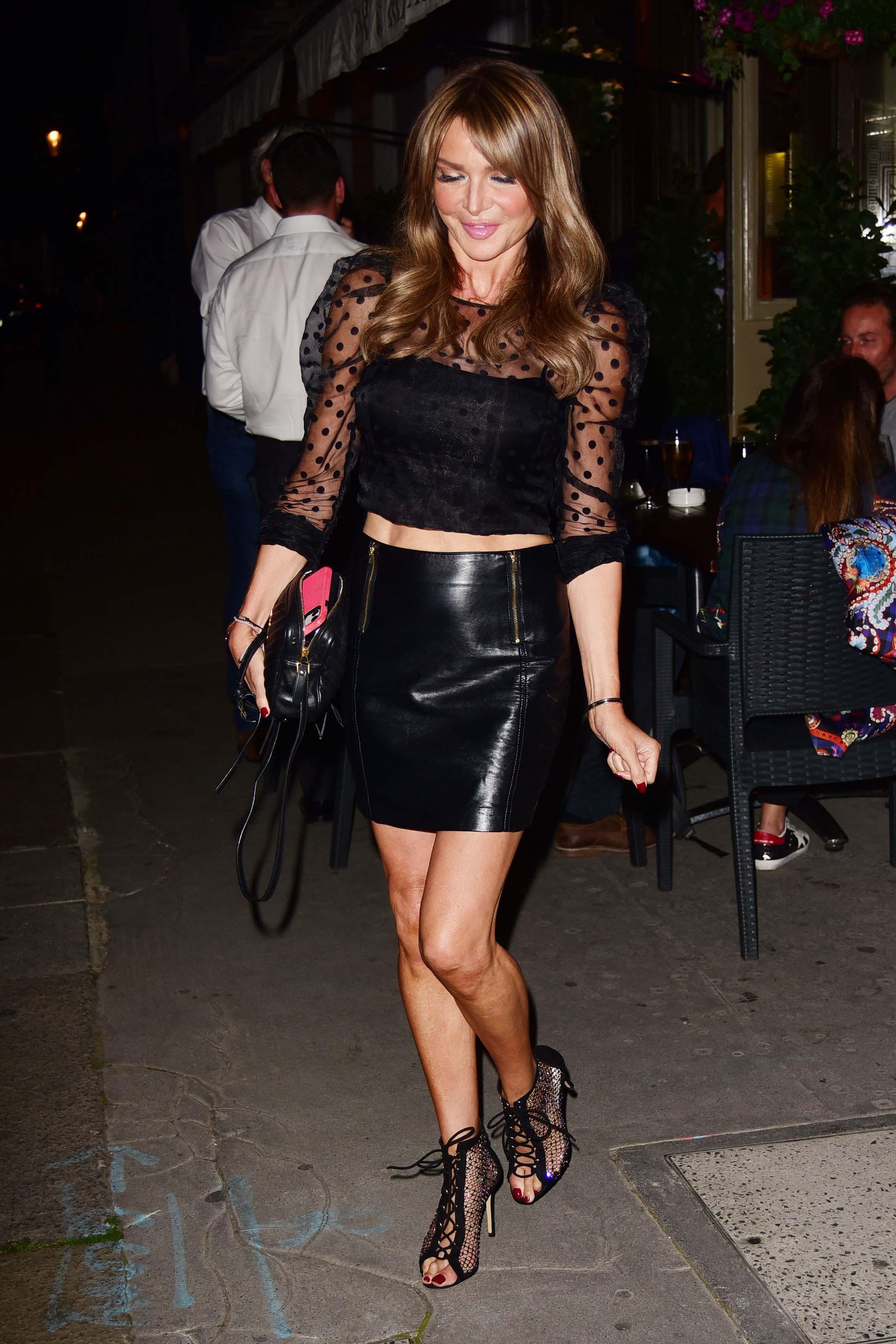 Lizzie Cundy seen at La Famiglia in Chelsea