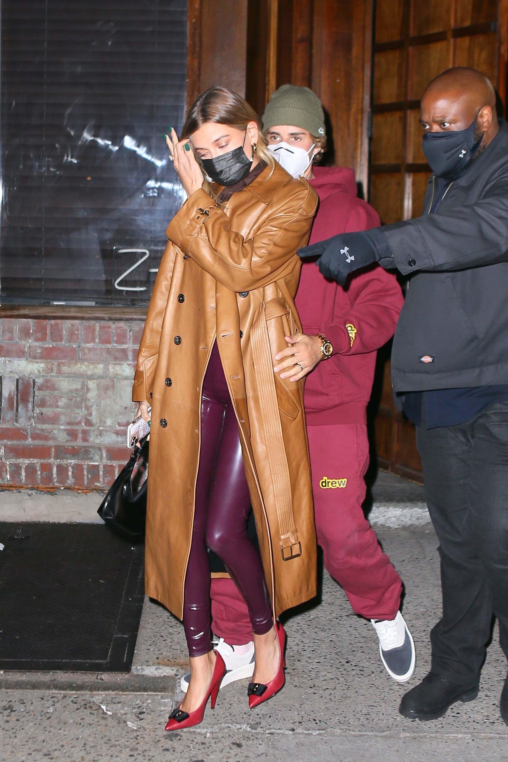 Hailey Baldwin seen at Carbone in New York
