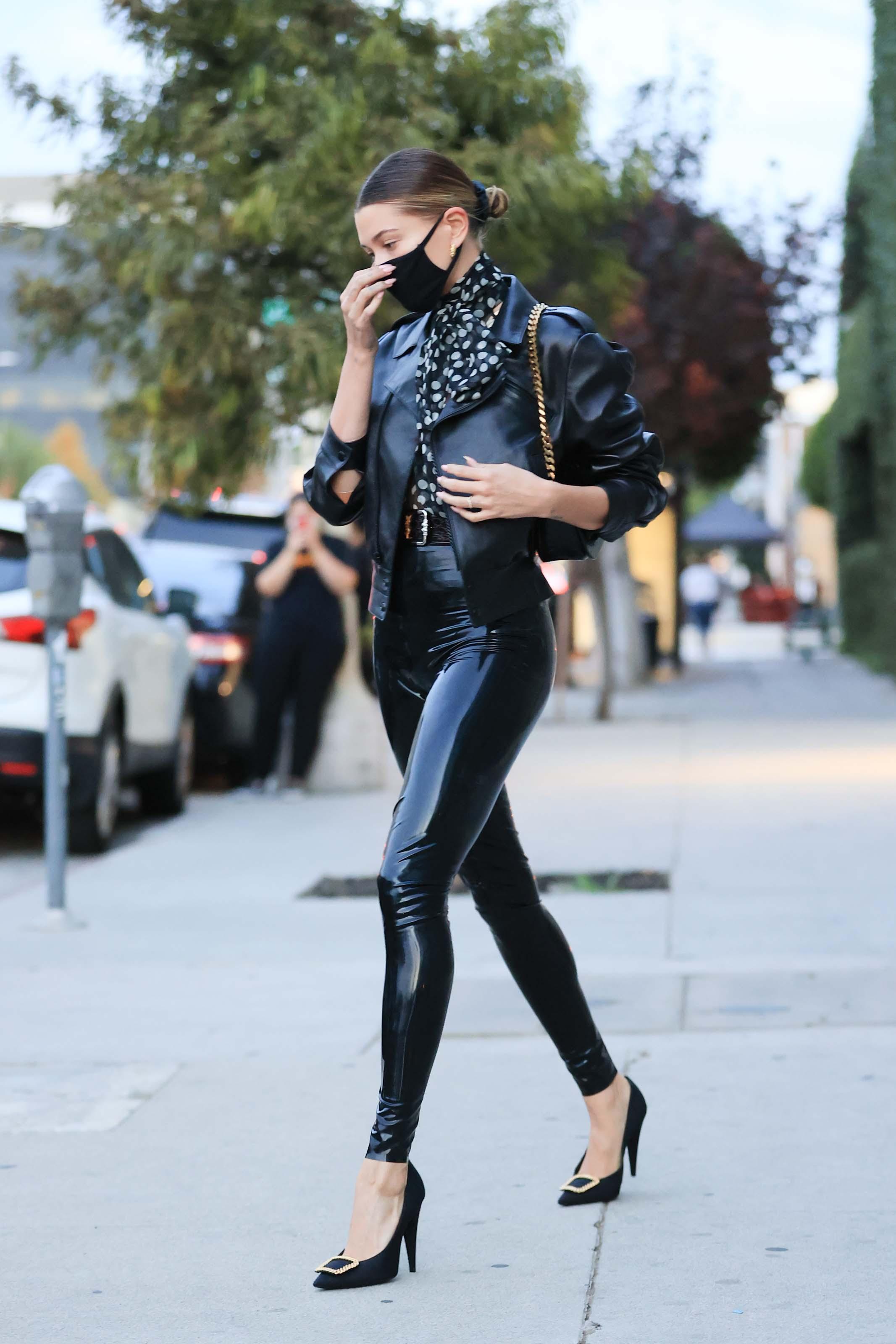Hailey Baldwin attends stylist Maeve Reilly's office in Los Angeles