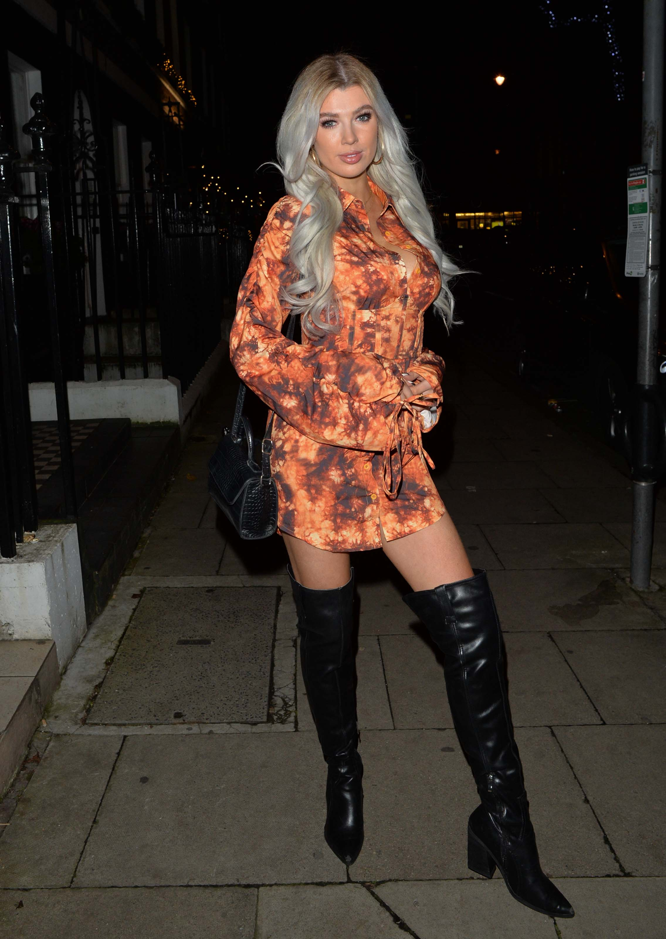 Nicole O'Brien night out in Mayfair, London
