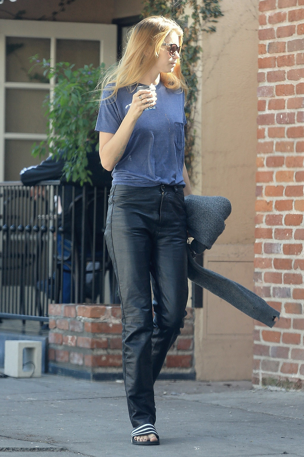 Abbey Lee Kershaw is seen grabbing some coffee