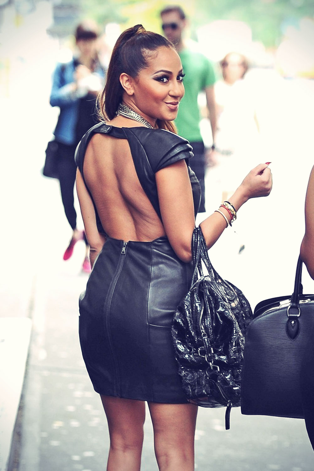Adrienne Bailon out with a few girlfriends