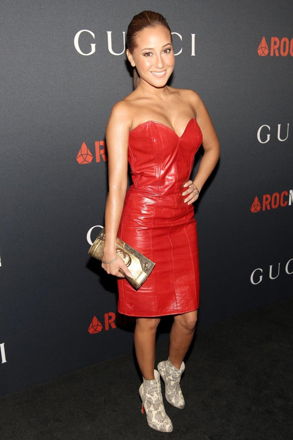 Adrienne Bailon red leather dress