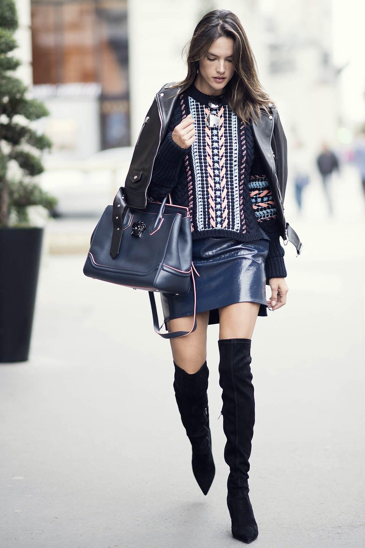 Alessandra Ambrosio Street Style at Paris Fashion Week